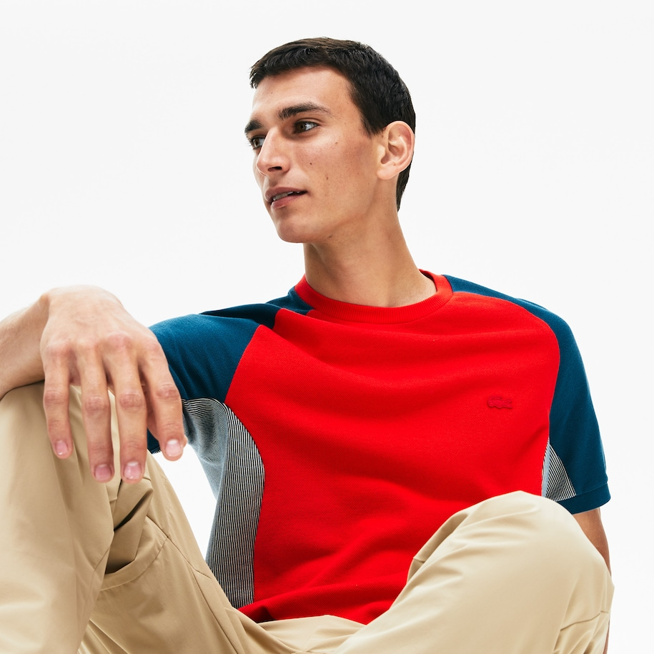 Men's Colourblock Piqué Crew Neck T-shirt