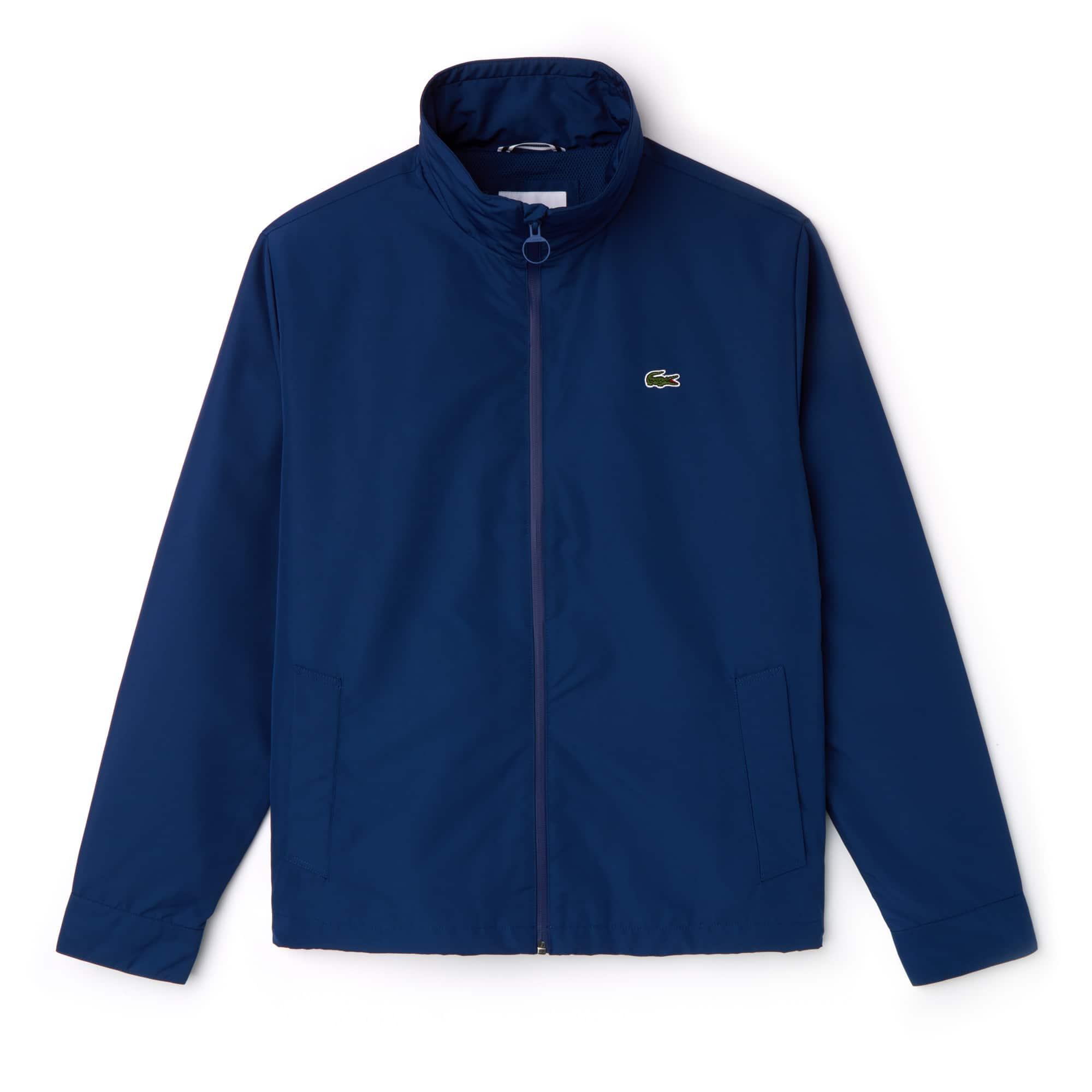 Men's Concealed Hood Zippered Lightweight Taffeta Jacket