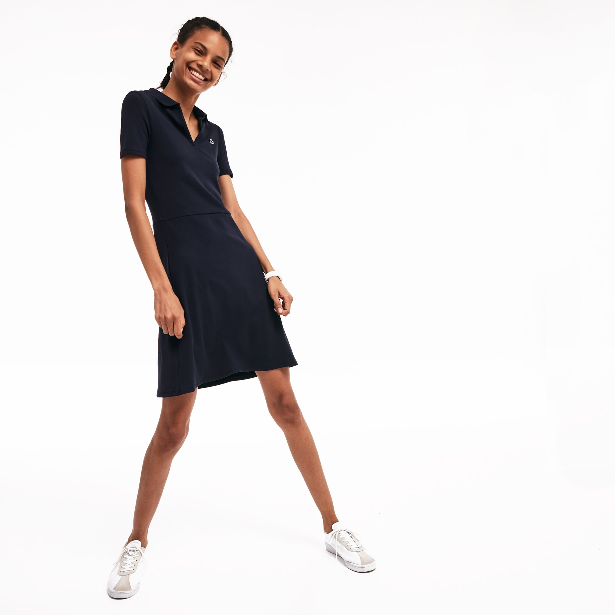 b842122d627e 50% off. Women's Lacoste LIVE V-Neck Ribbed Cotton Blend Polo Dress