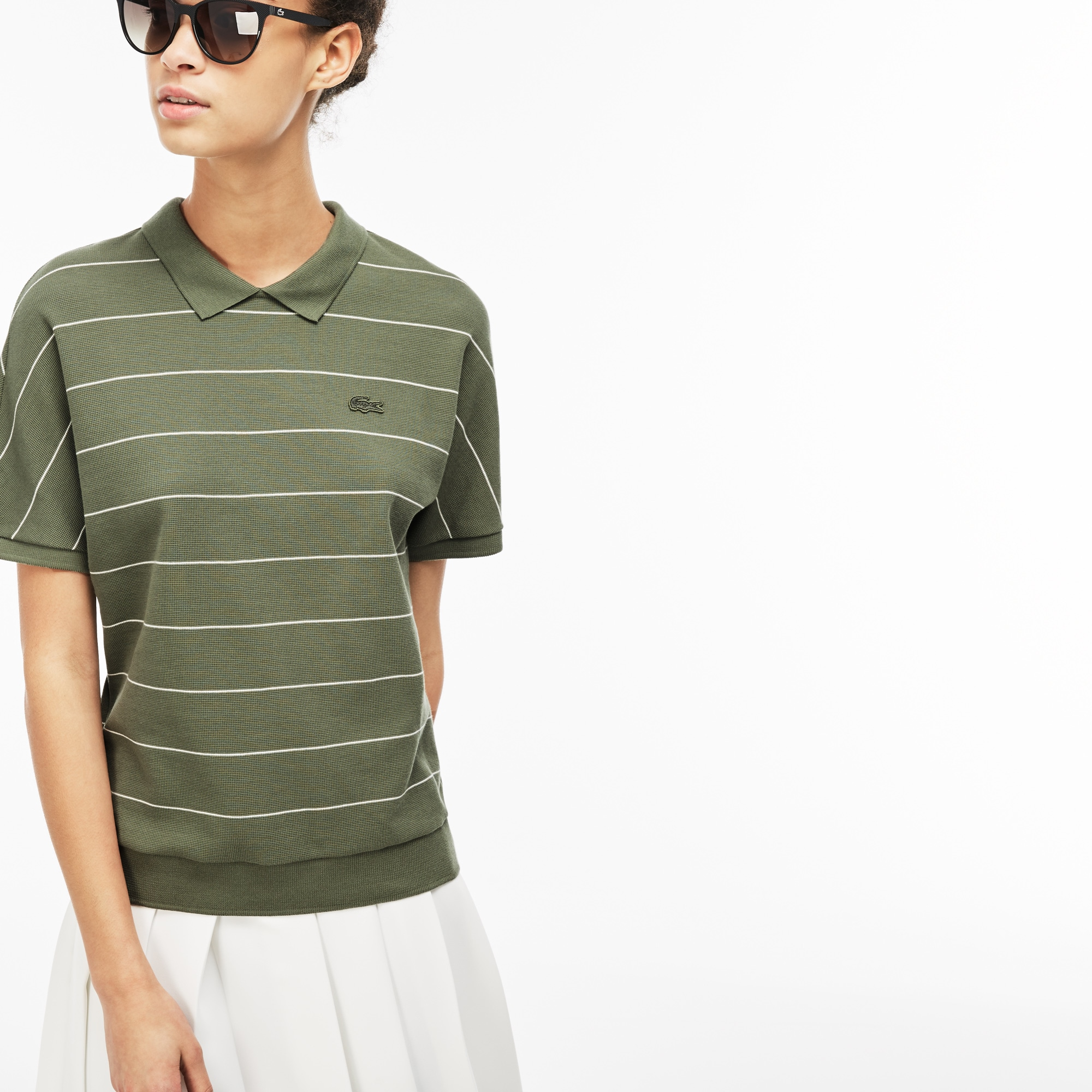 Women's Lacoste Finely Striped Cotton Honeycomb Polo Shirt