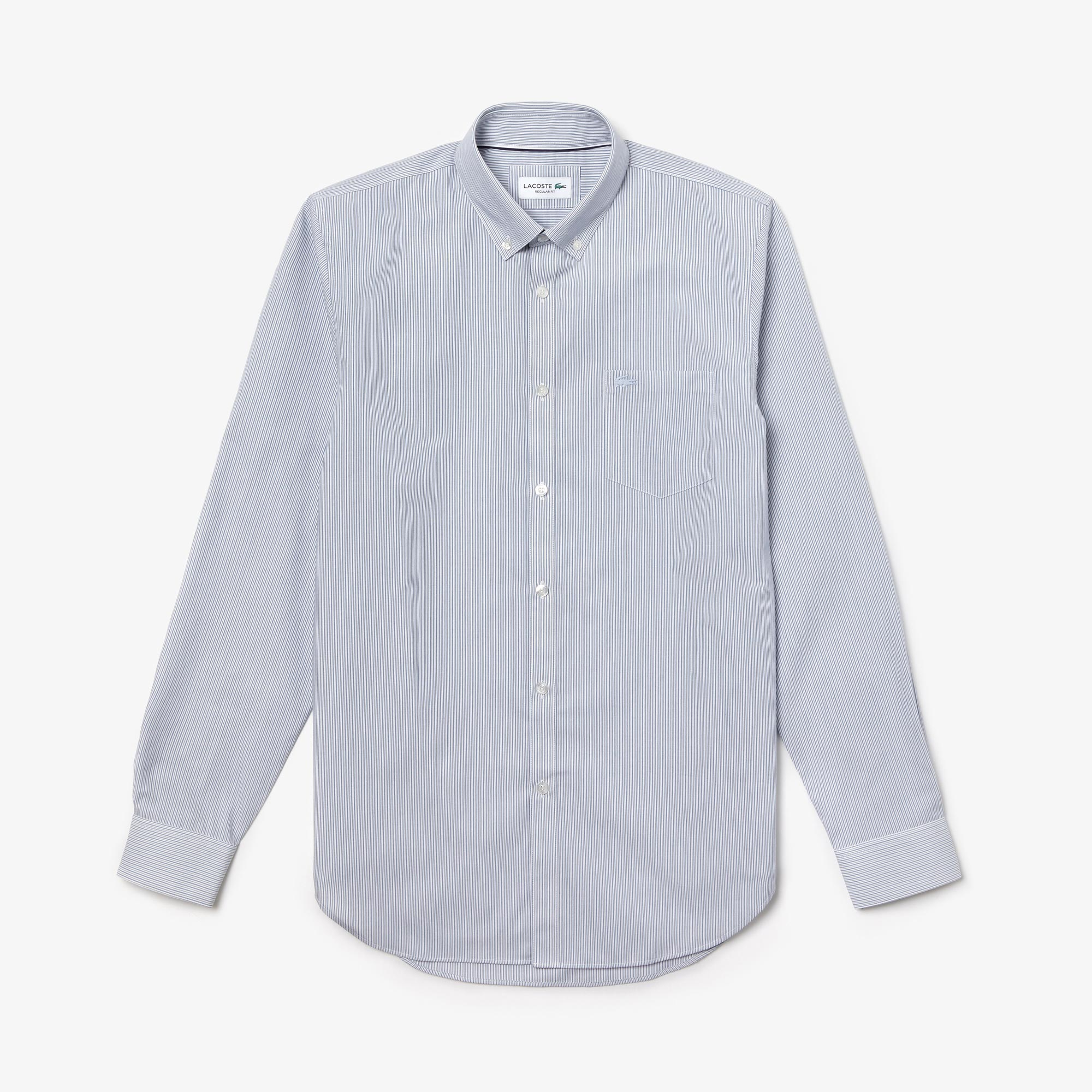 Men's Regular Fit Striped Cotton Poplin Shirt