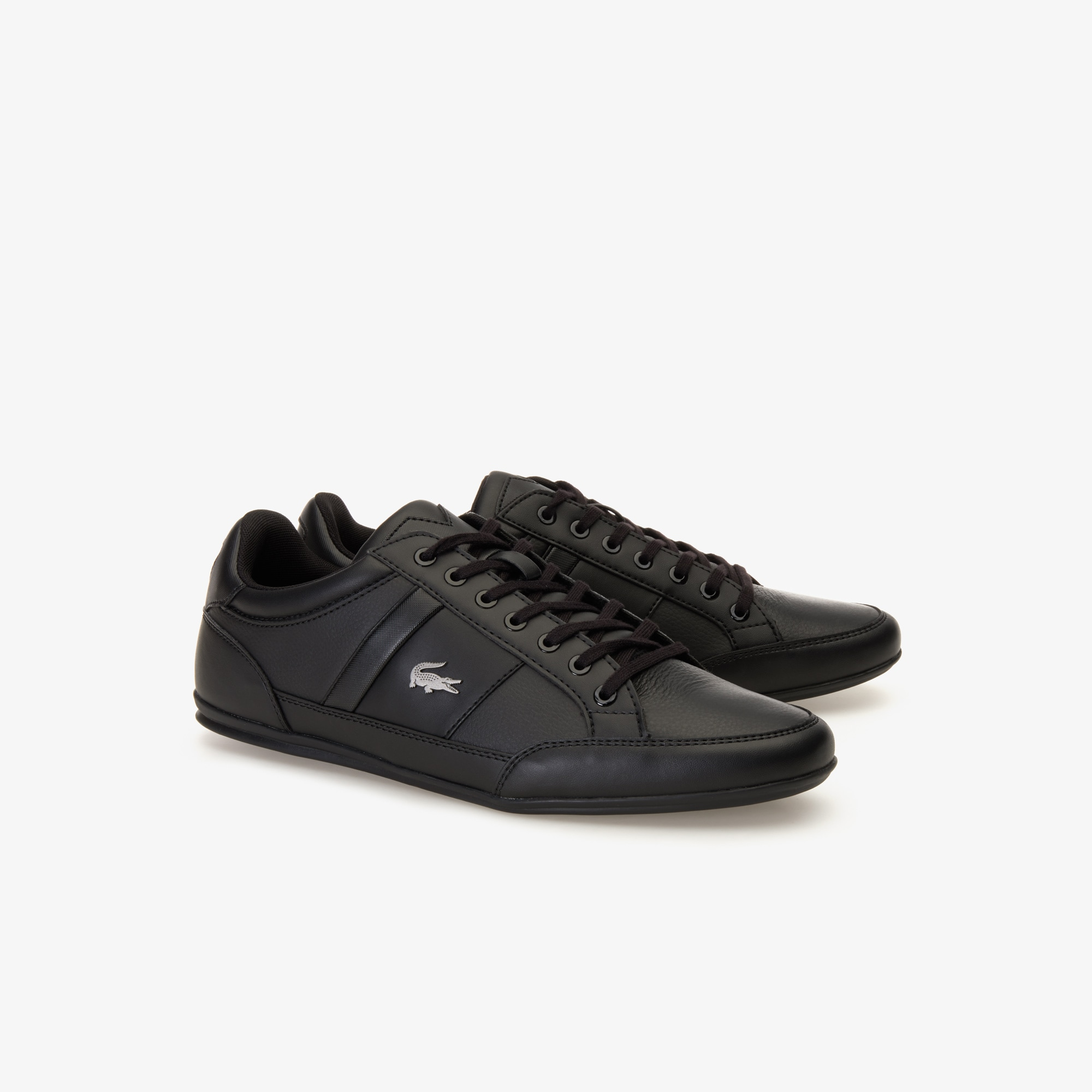 mens black leather lacoste trainers new
