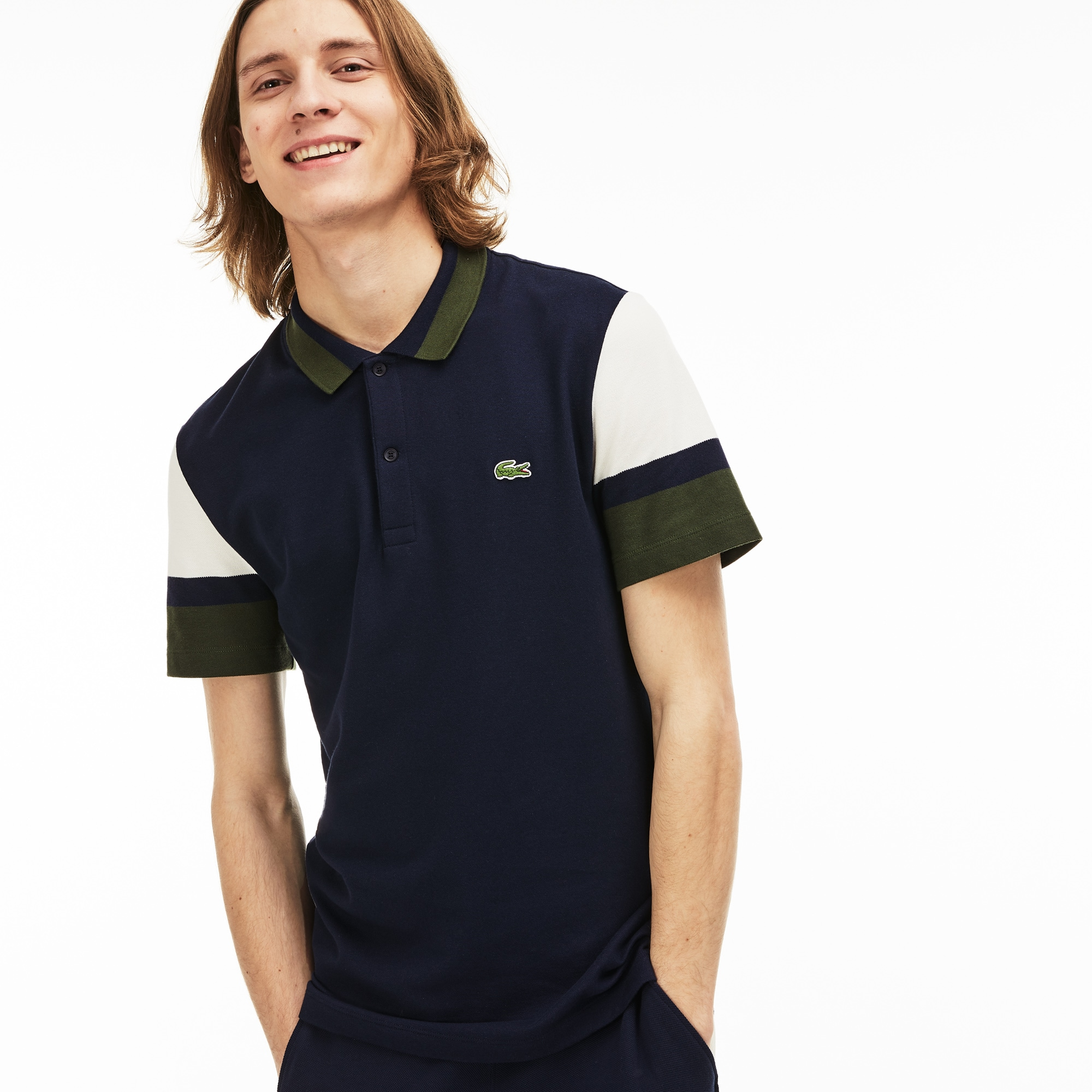 adf46c30c Men s Lacoste Slim Fit Colourblock Stretch Pima Piqué Polo Shirt ...