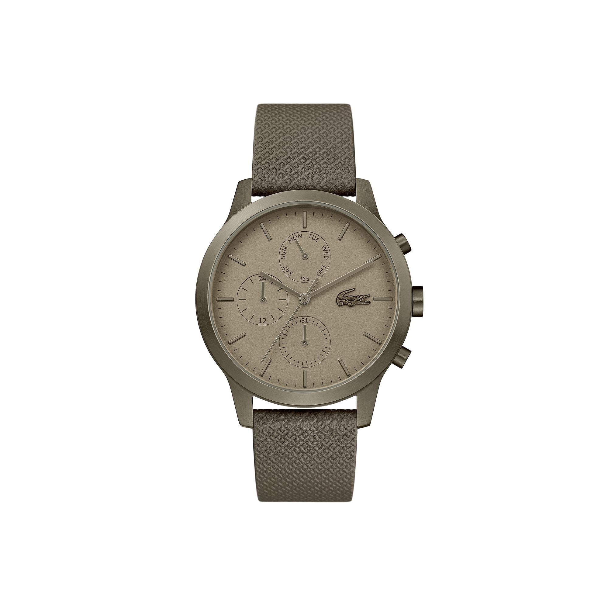 38bd18bb0188 Gents Lacoste.12.12 Watch with Khaki Leather Petit Piqué Strap