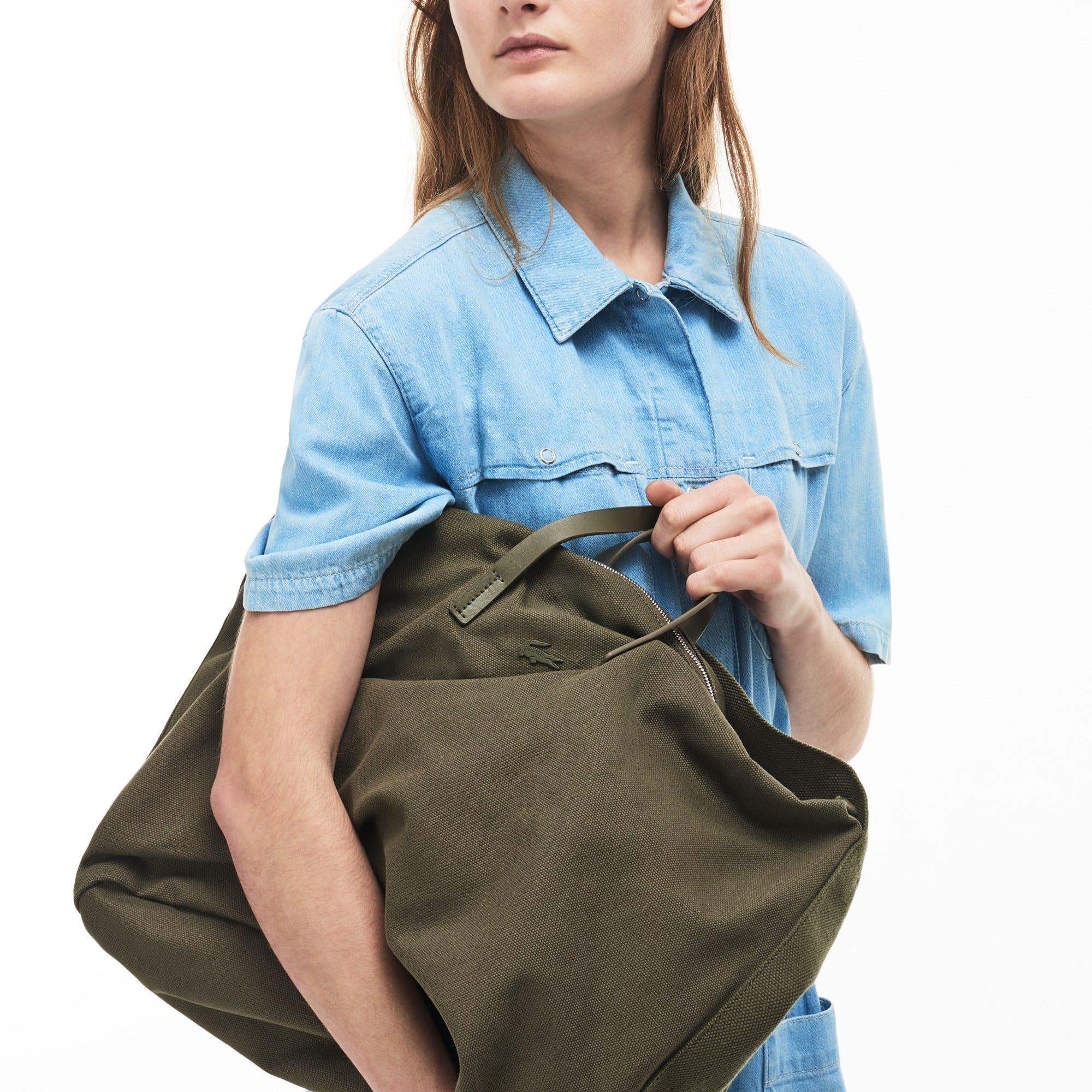 Women's Suzie Shoulder Strap Monochrome Cotton Large Zip Tote Bag