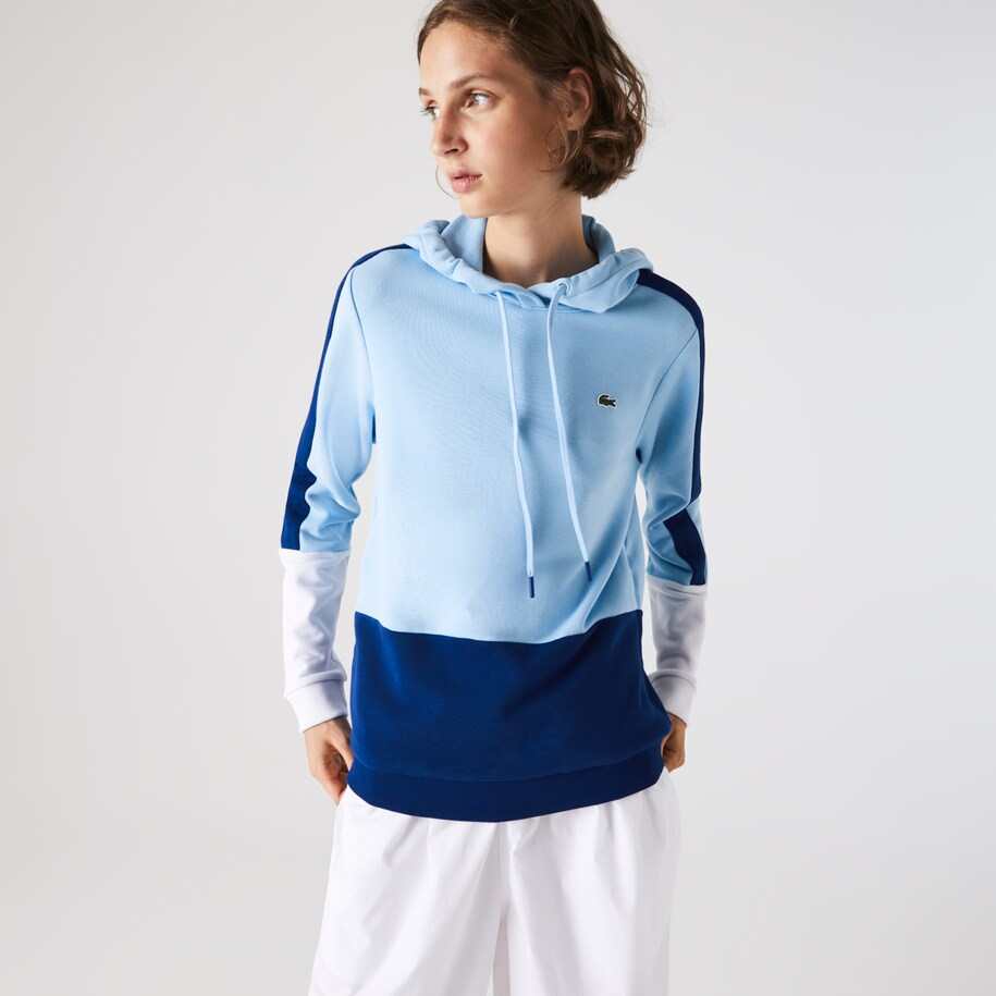 Women's Lacoste SPORT Hooded Colourblock Fleece Tennis Sweatshirt
