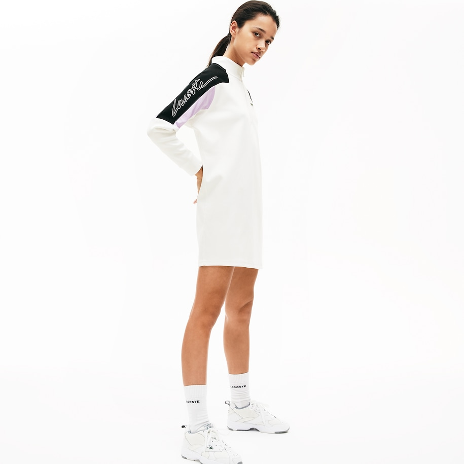 Women's Lacoste LIVE Colourblock Cotton Zip Sweatshirt Dress
