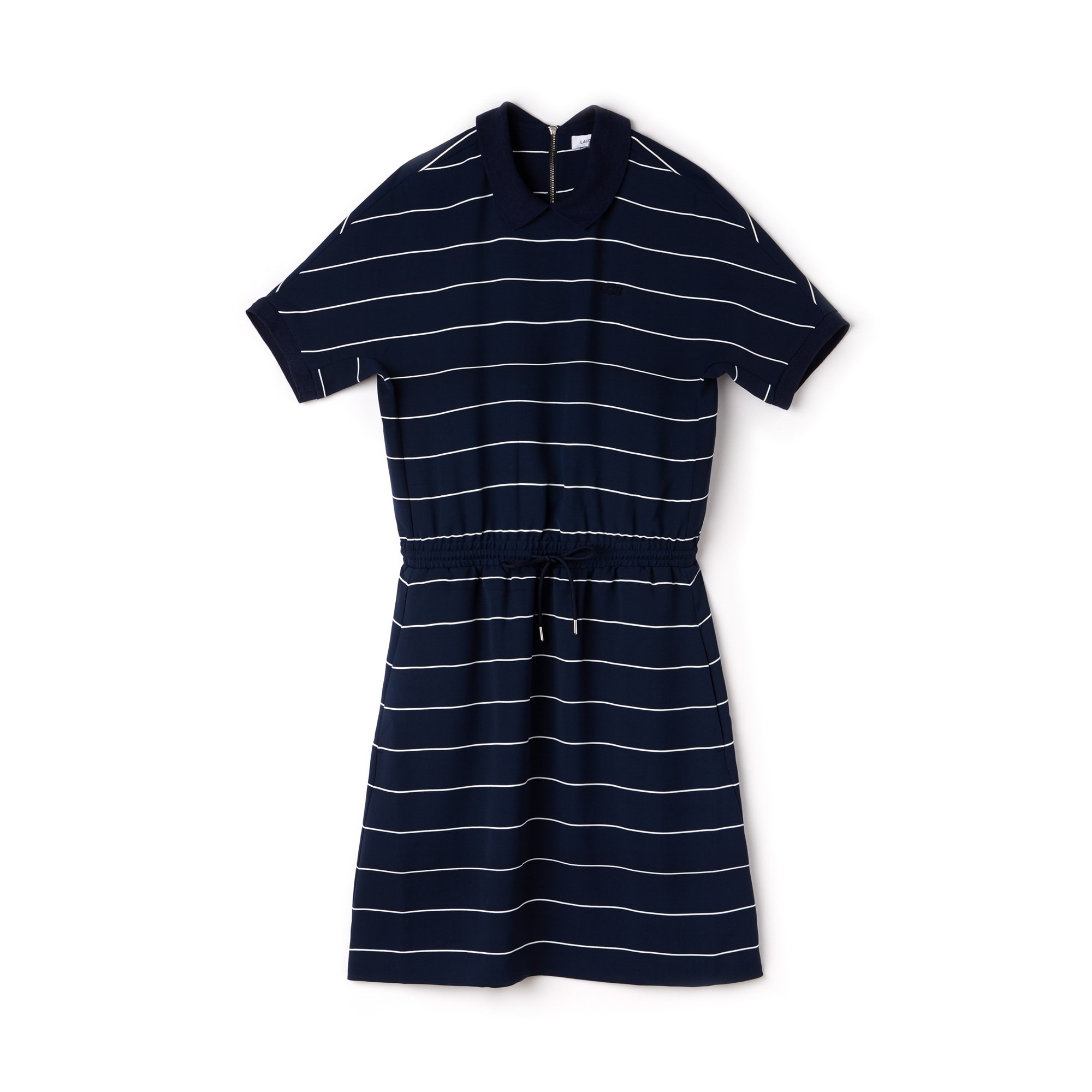 Women's Elasticized Waistband Flowing Striped Cady Knit Polo Dress