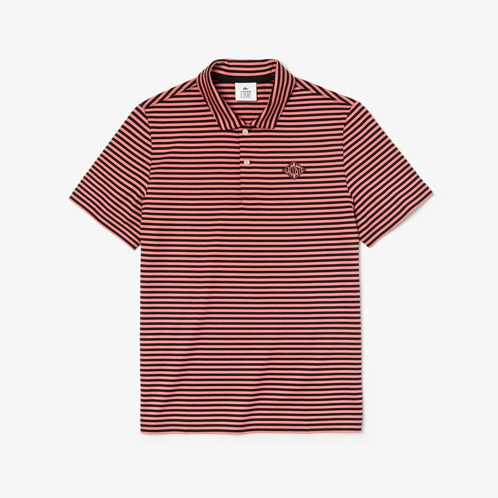 Men's Lacoste LIVE Regular Fit Diamond Badge Striped Cotton Polo Shirt