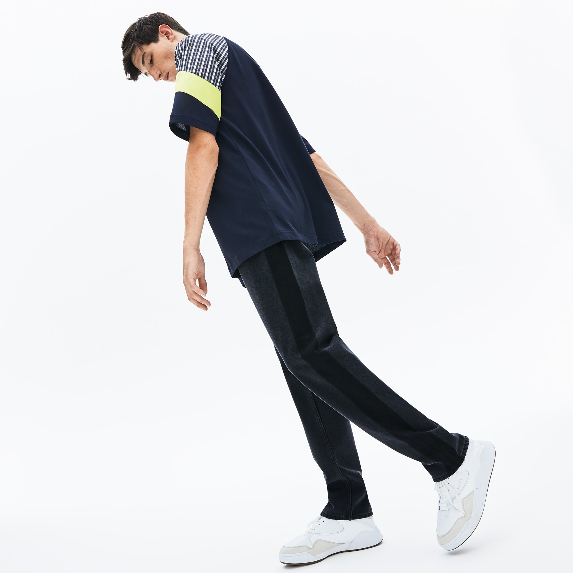 Men's Lacoste LIVE Straight Cut Play On Fading 5-Pocket Cotton Jeans
