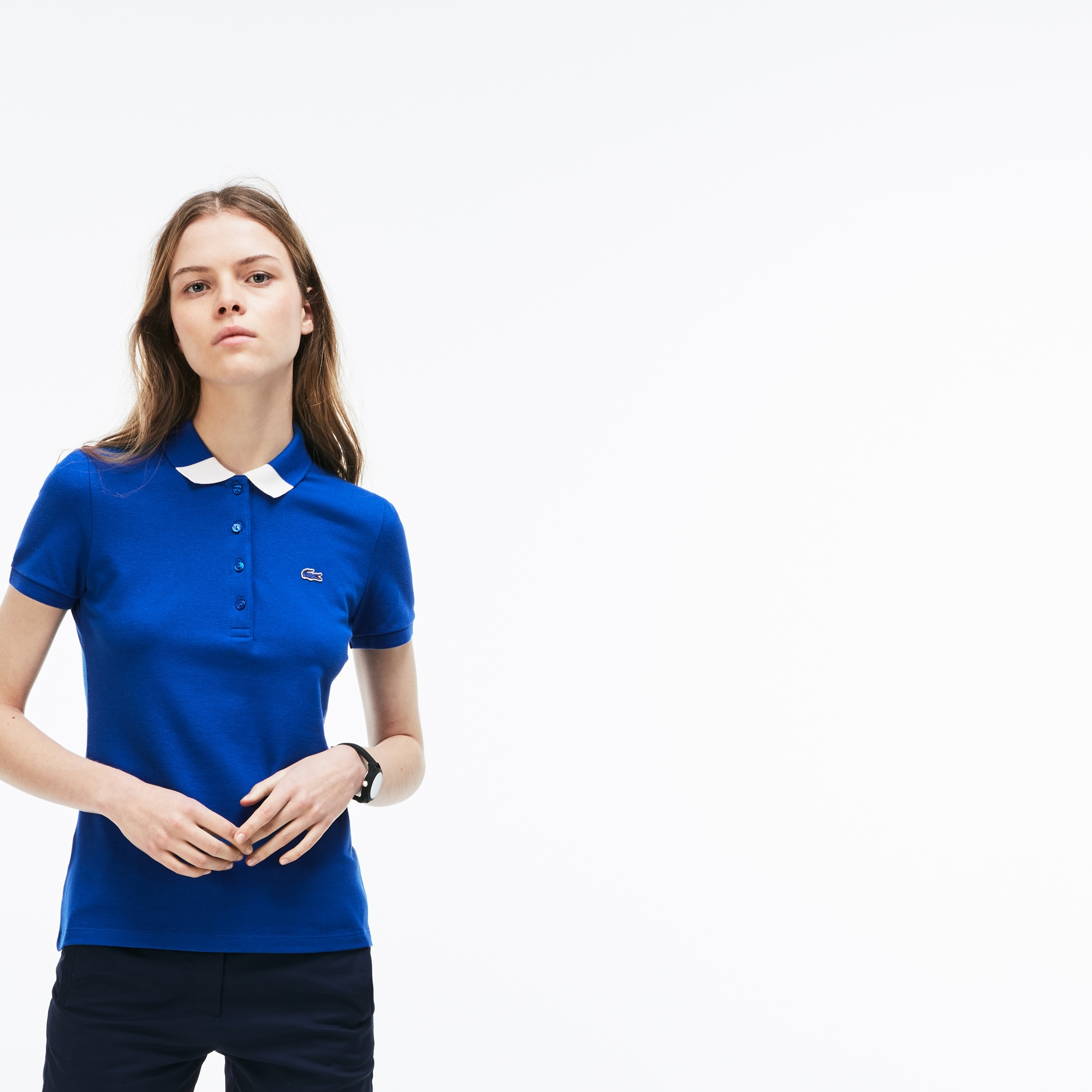 Women's Slim Fit Bicolour Collar Stretch Mini Piqué Polo Shirt