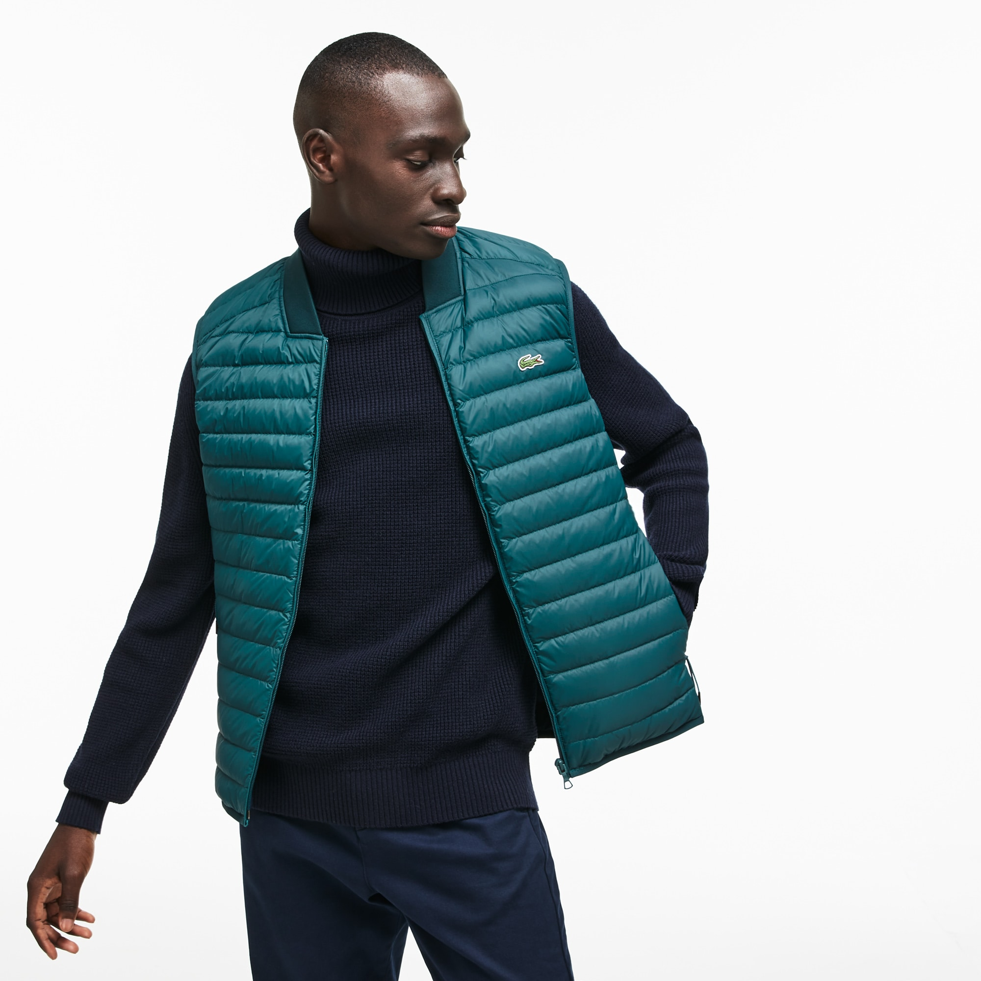 Men's Short Contrast Lining Quilted Vest
