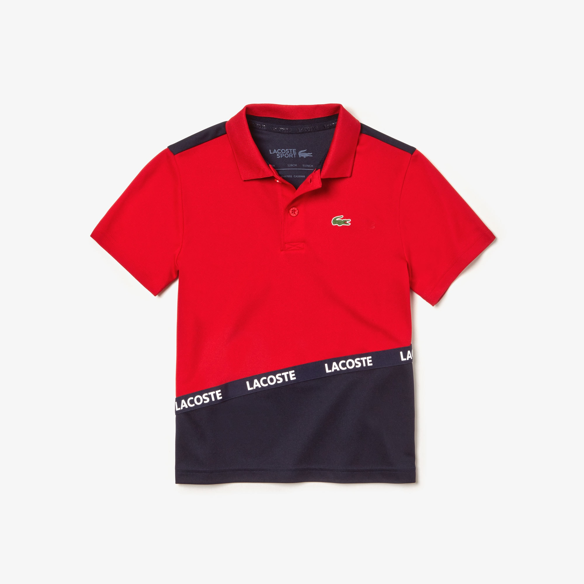 9e0c53ca902 Boys' Lacoste SPORT Signature Band Colourblock Breathable Piqué Polo Shirt