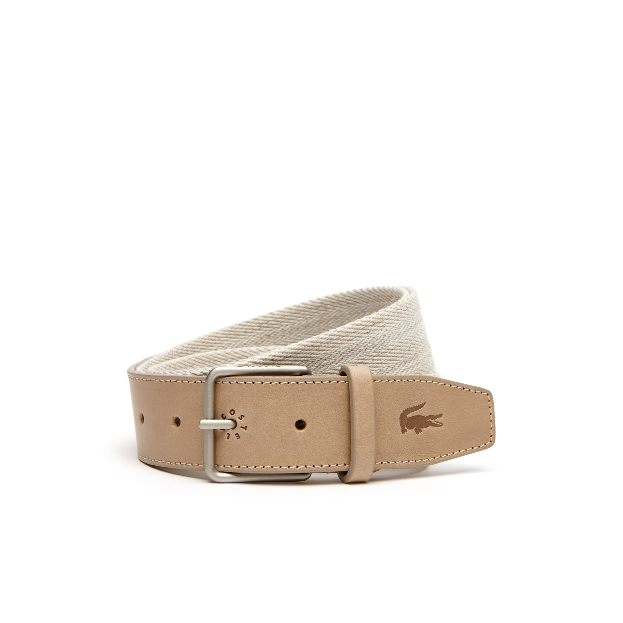 Men's Tongue Buckle Leather And Woven Linen Belt