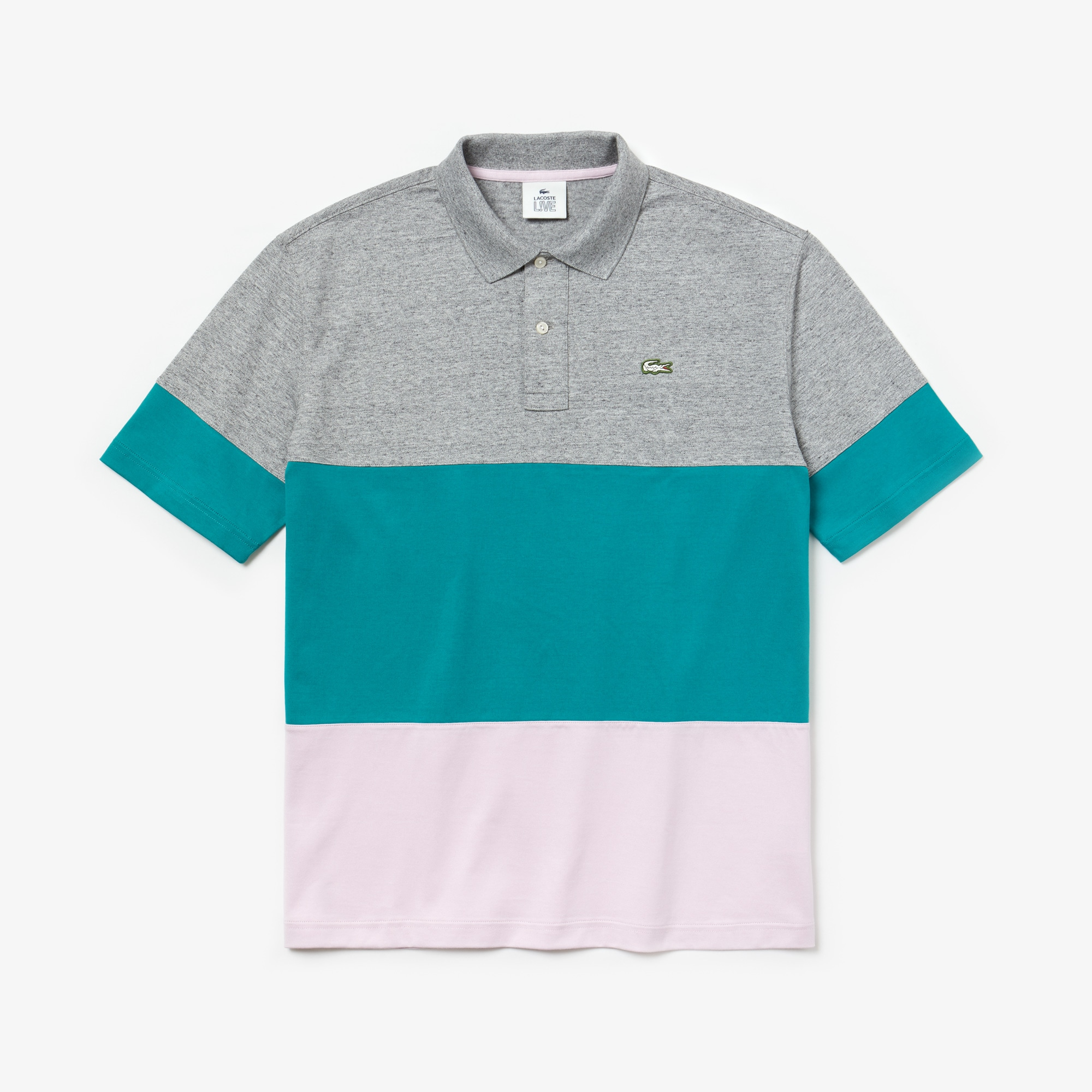 Men's Lacoste LIVE Loose Fit Colourblock Cotton Polo Shirt