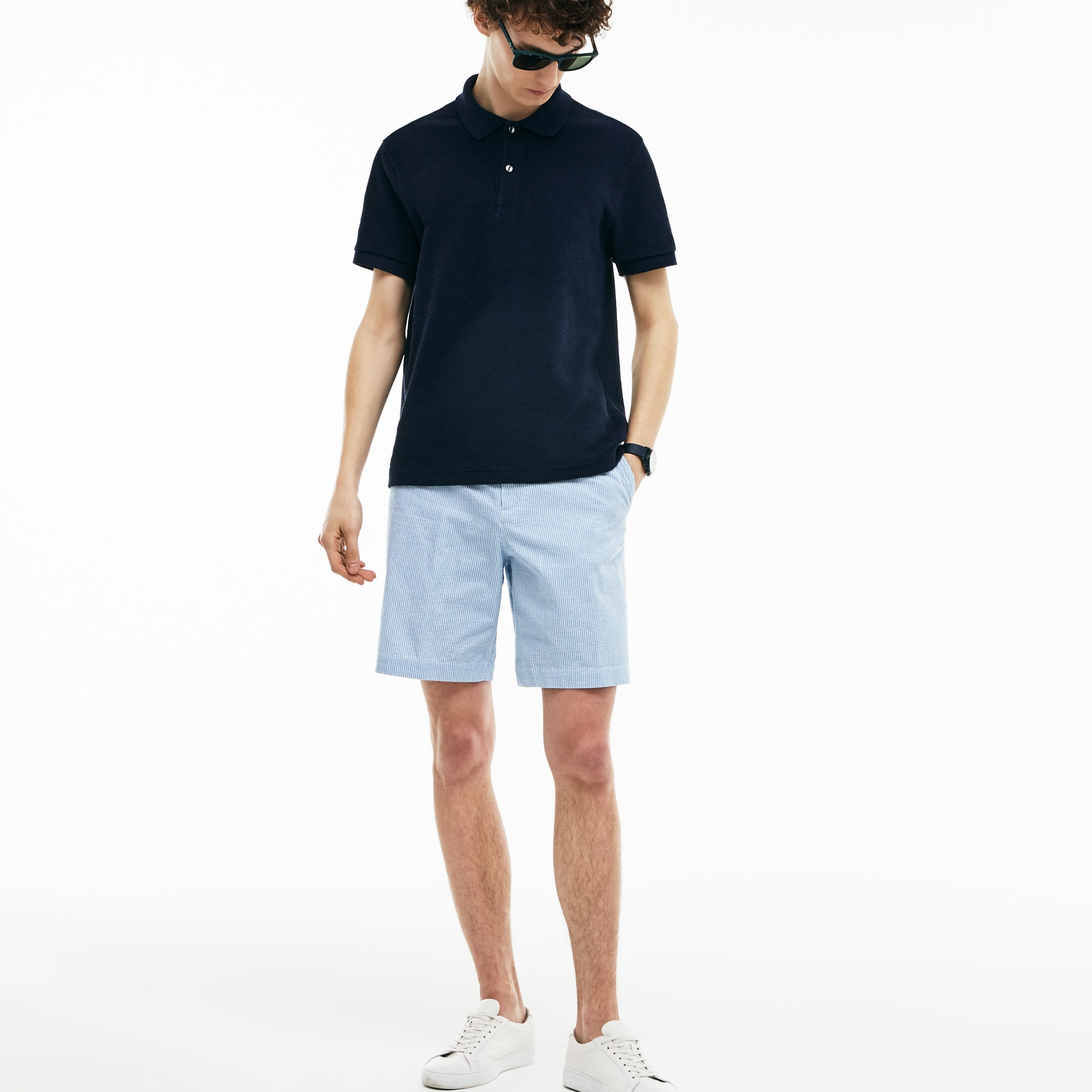 Men's Regular Fit Striped Cotton Seersucker Bermuda Shorts