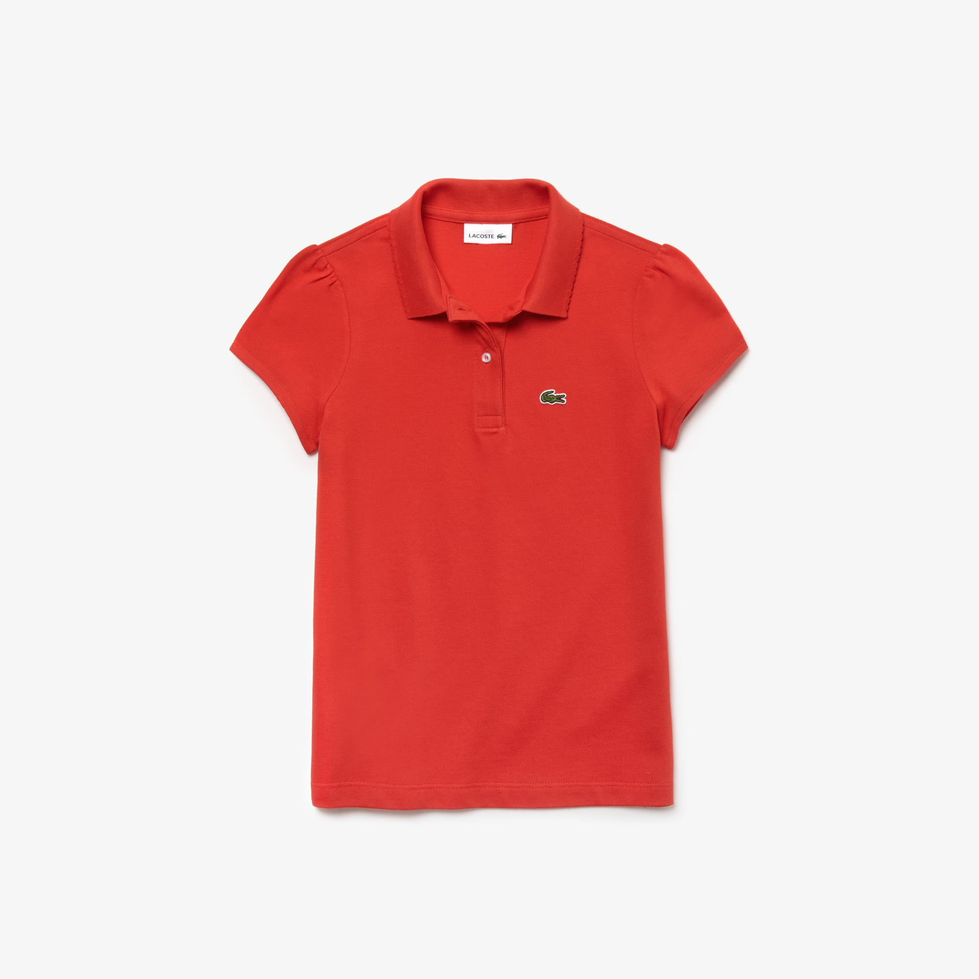 9778cae35 Girls  Lacoste Scalloped Collar Mini Piqué Polo Shirt