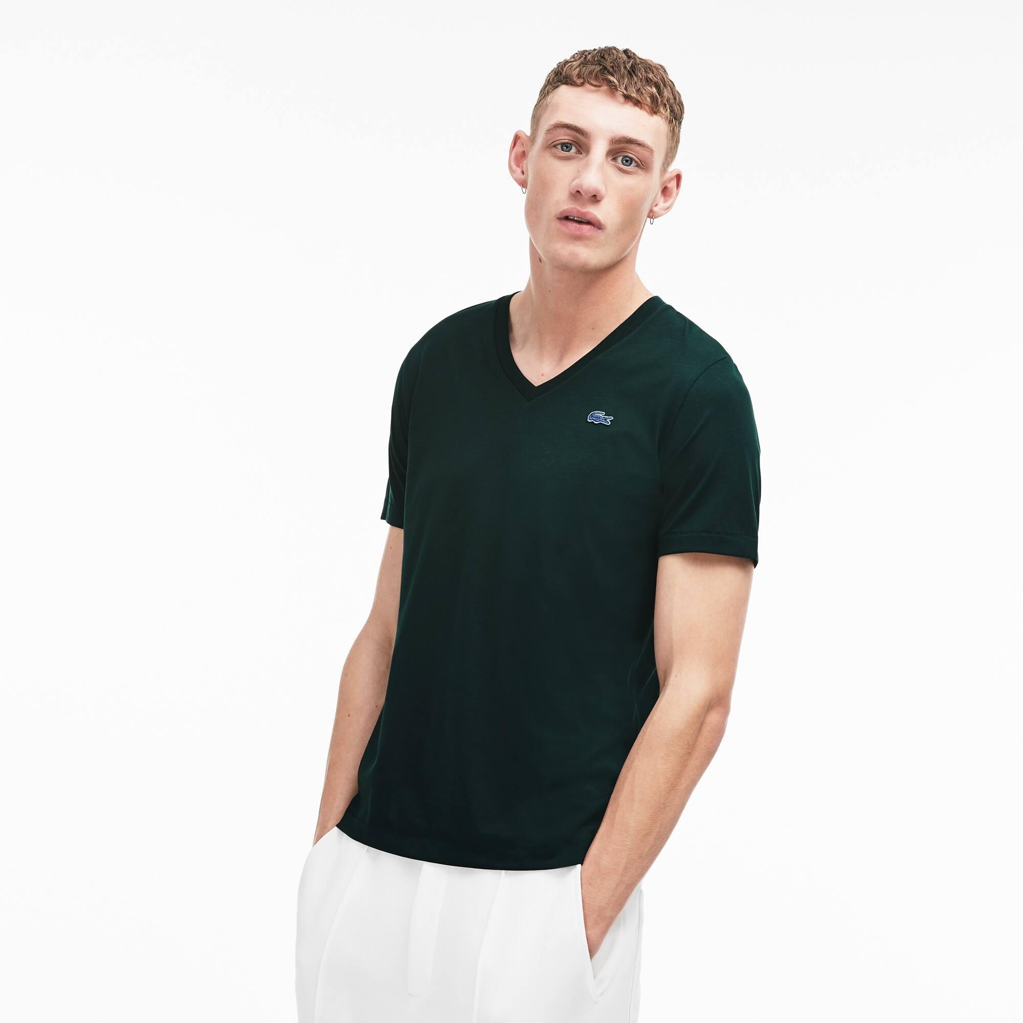 Unisex Lacoste LIVE V-Neck Cotton Jersey T-shirt