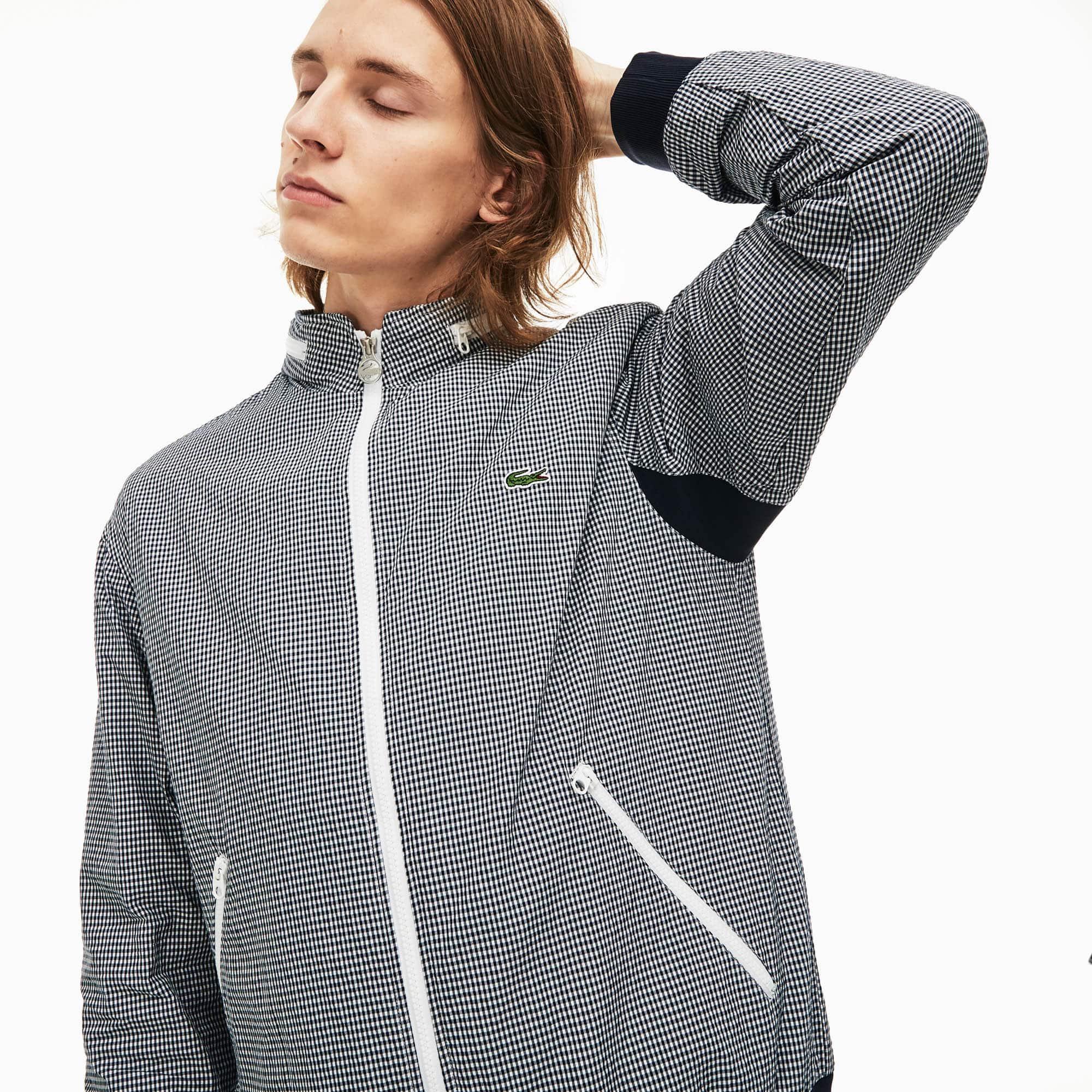 b1c6931a19fd Men s Concealed Hood Lightweight Gingham Print Zip Jacket
