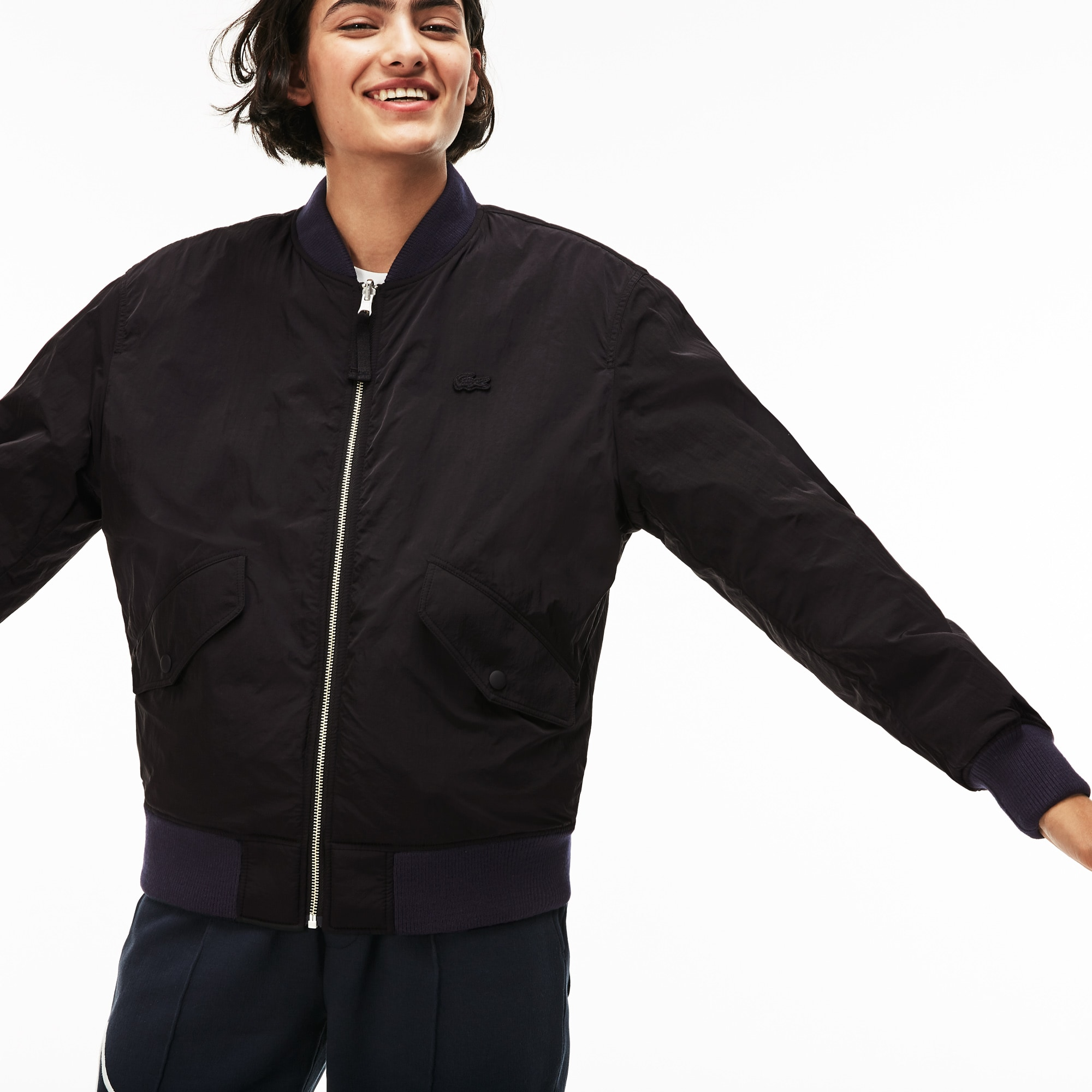 Unisex Lacoste LIVE Reversible Nylon And Fleece Bomber Jacket
