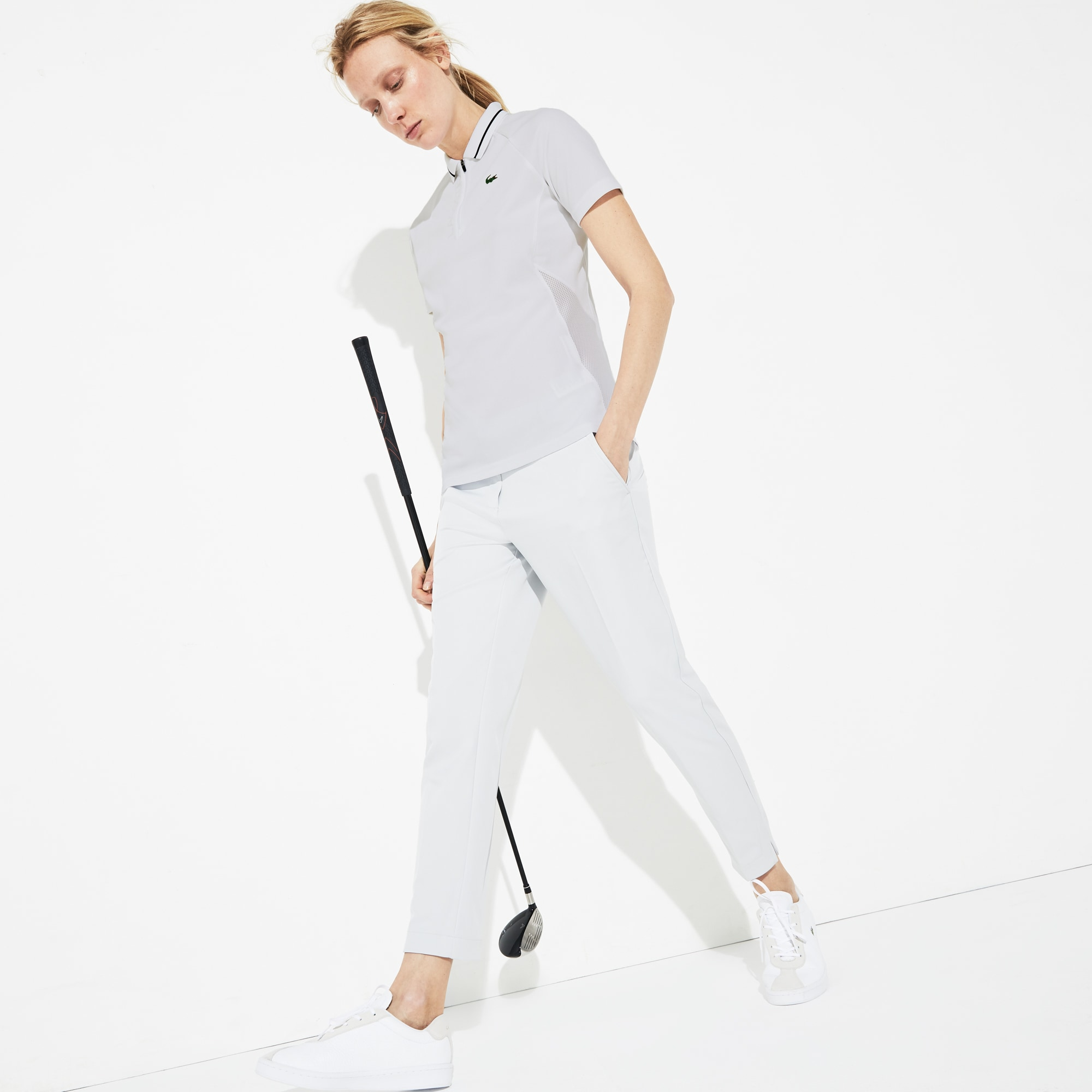 Women's Lacoste SPORT Zip Neck Mesh Panels Technical Golf Polo Shirt