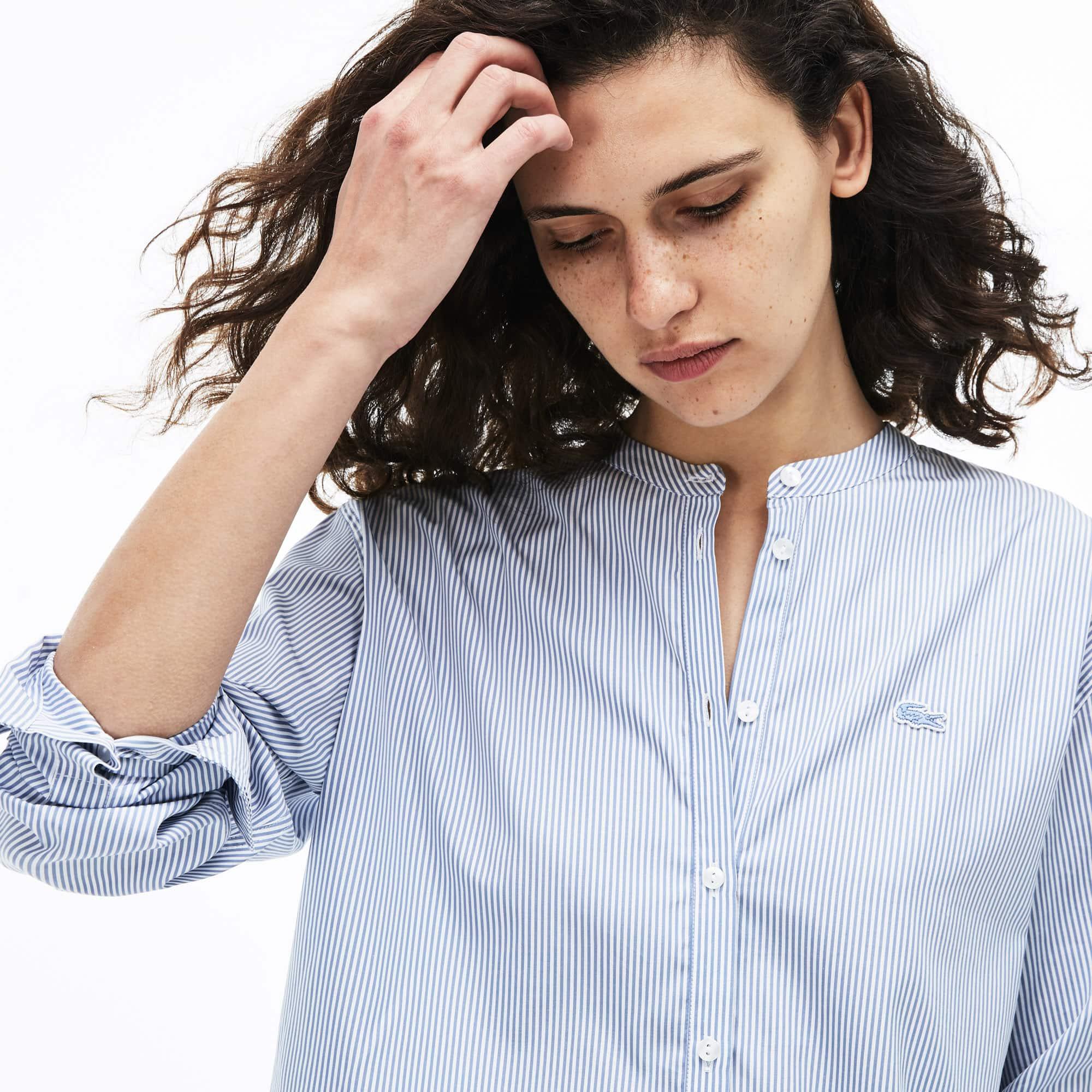 ea6fec5ad3 Women's Loose Fit Mao Collar Striped Cotton Poplin Shirt | LACOSTE