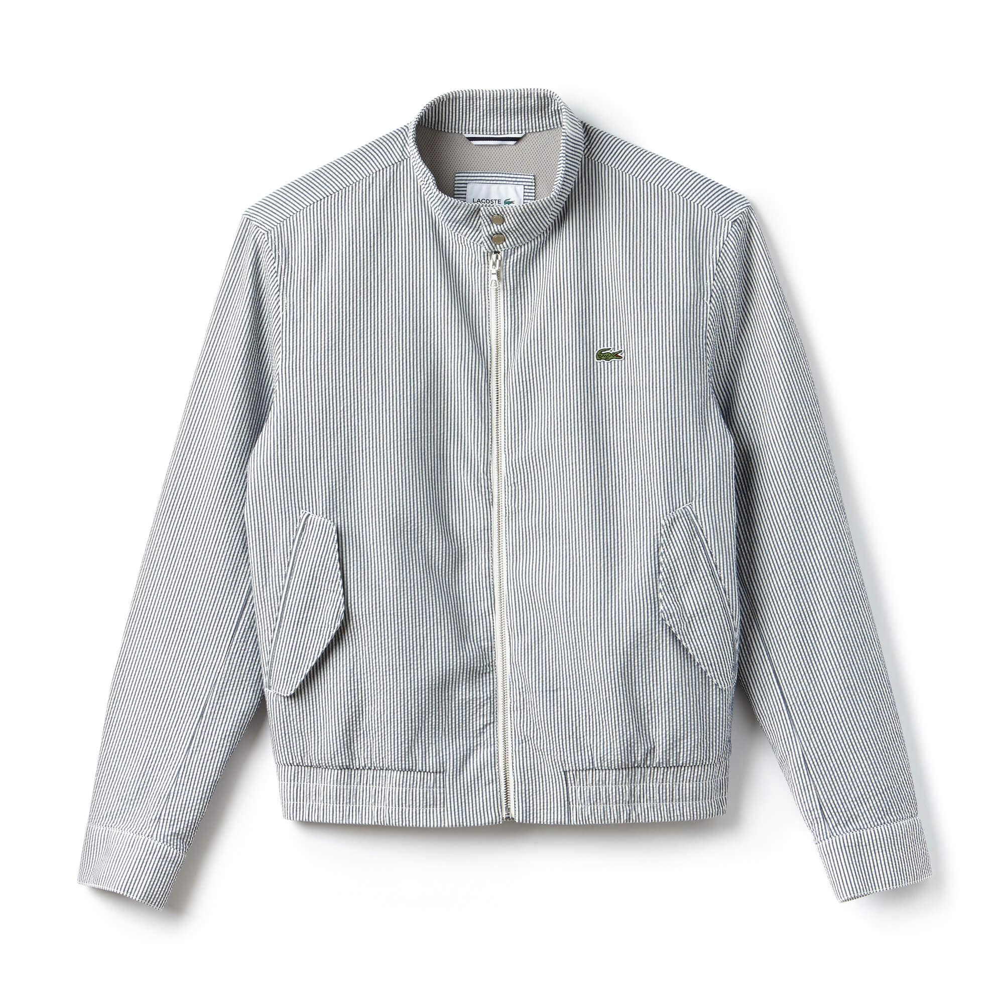 Men's Short Striped Seersucker Zip Jacket