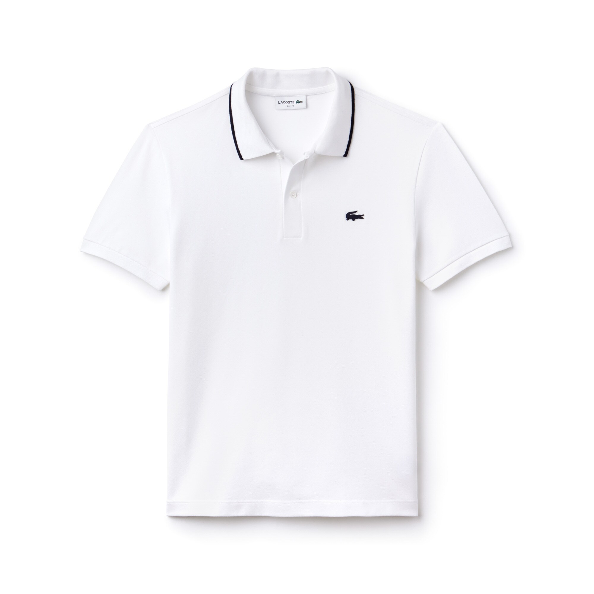 Men's Lacoste Slim Fit Piped Neck Stretch Pima Cotton Polo Shirt