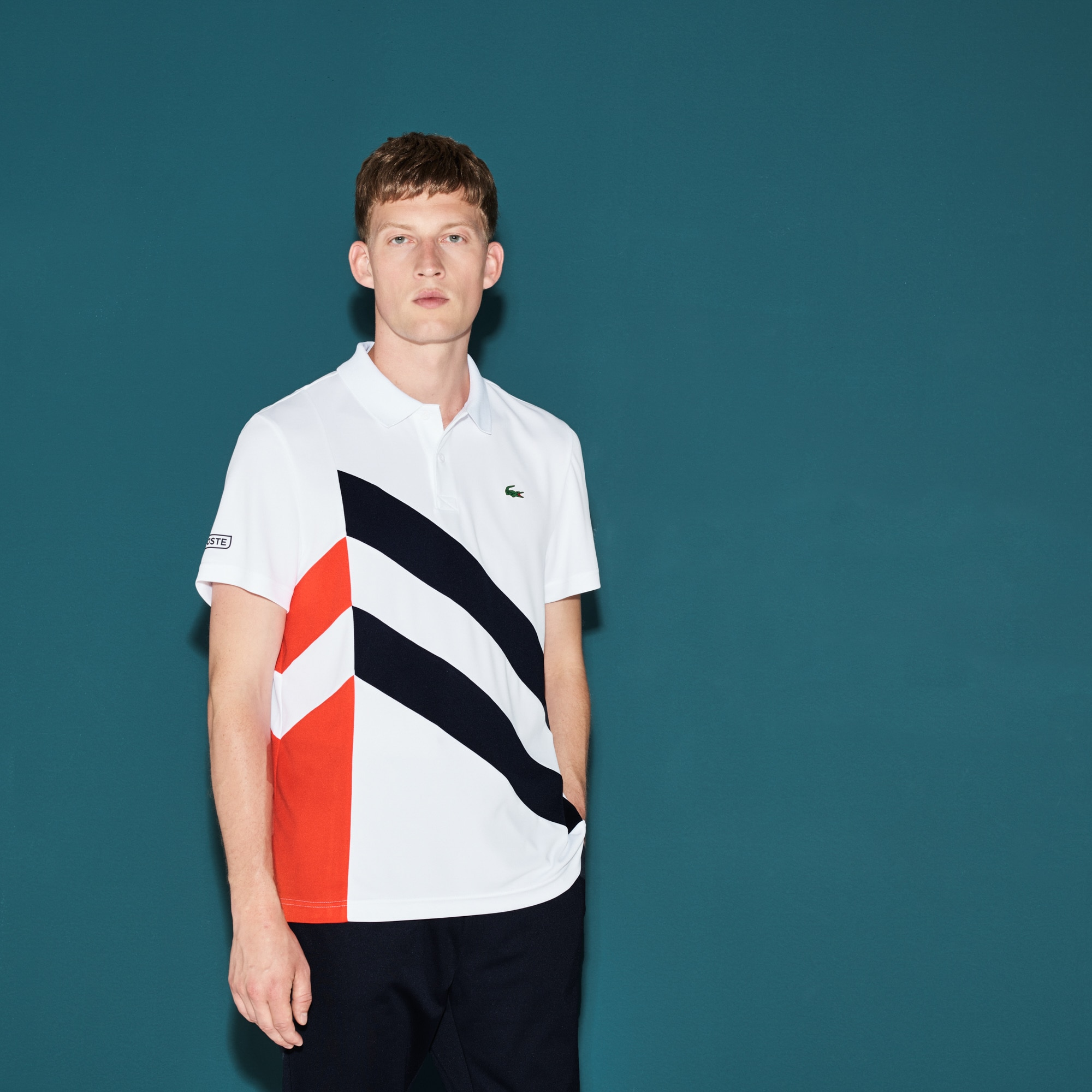 Men's Lacoste SPORT Tennis Colorblock Band Tech Piqué Polo