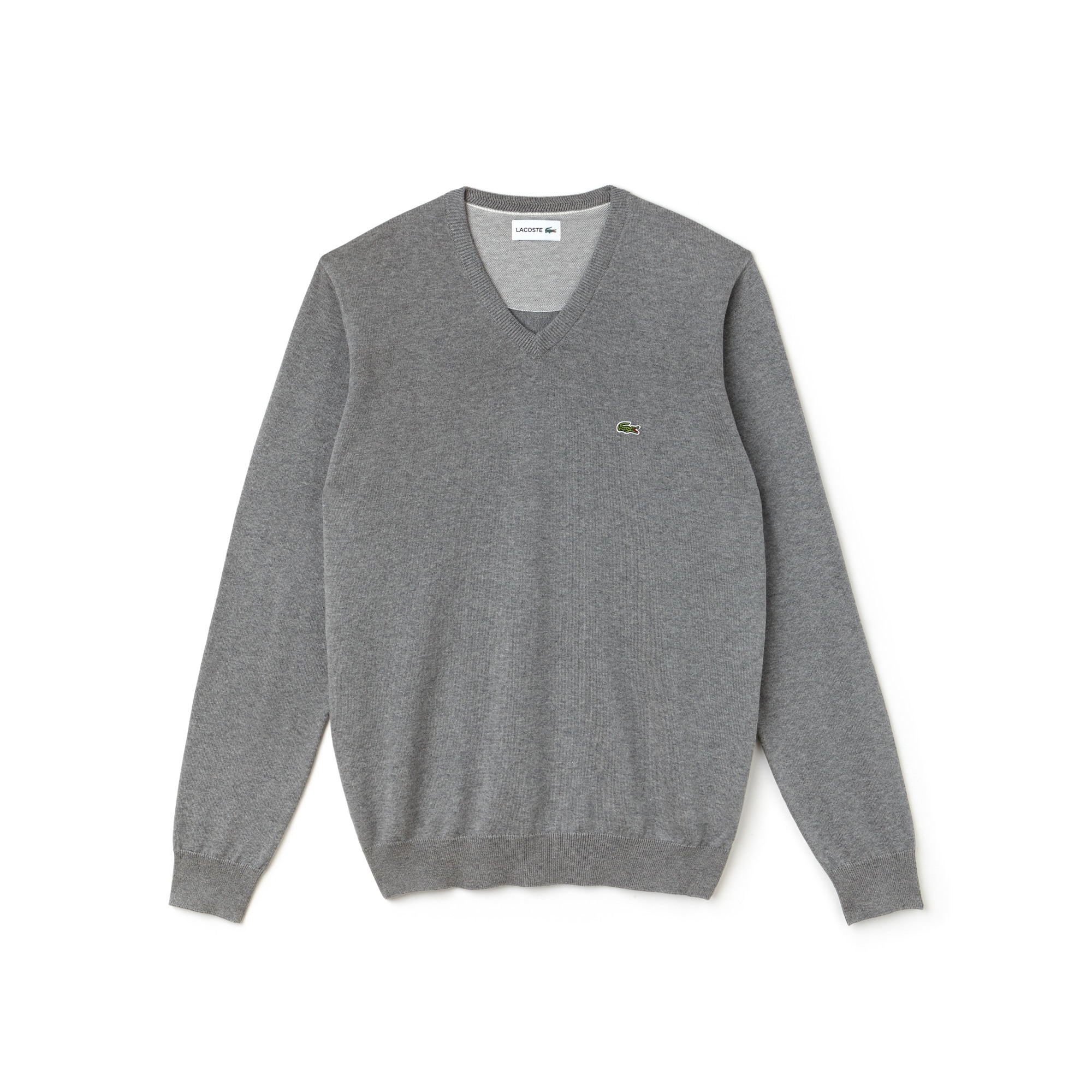 Men's V-neck Caviar Piqué Accent Cotton Jersey Sweater