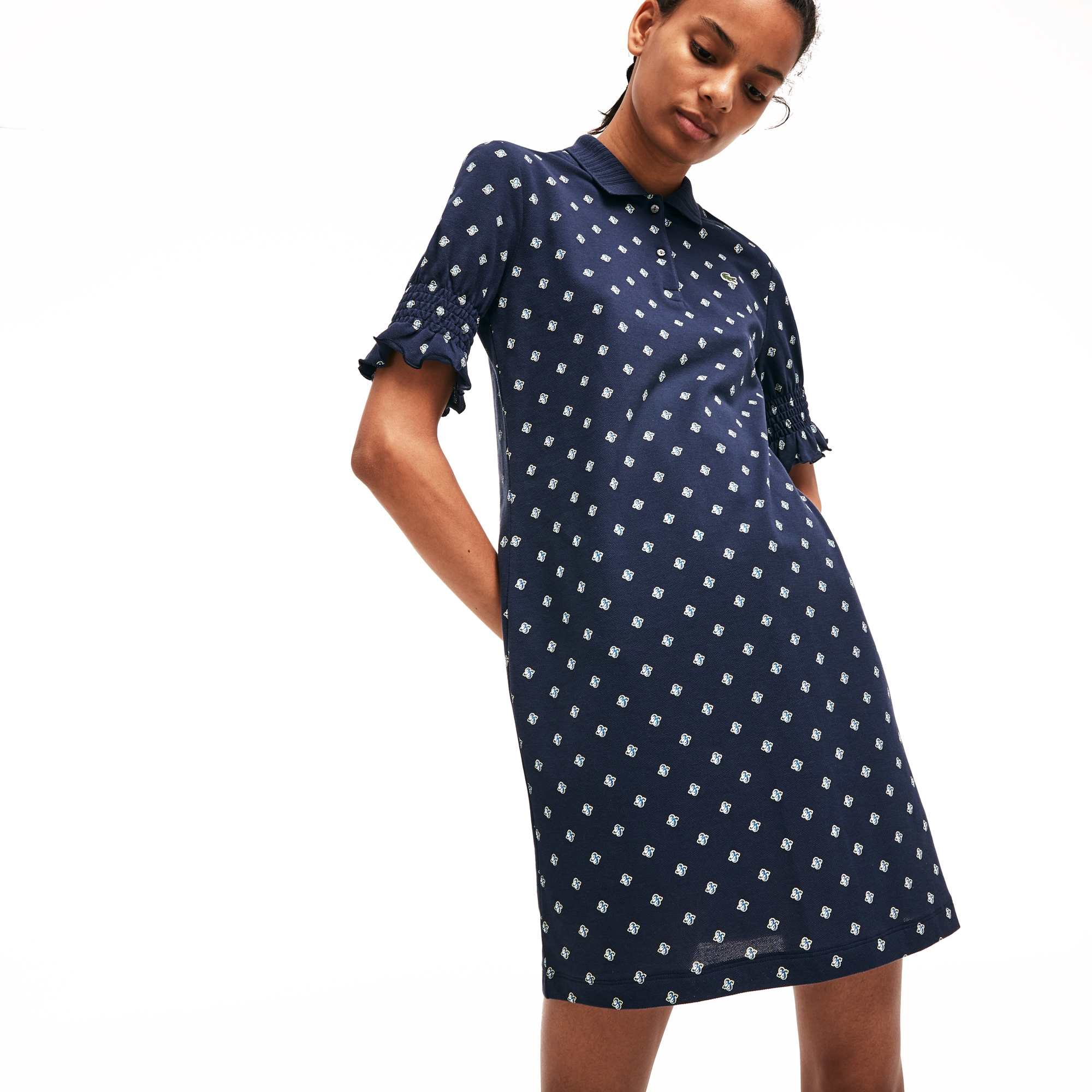 6139d964611 Women s Lacoste LIVE Smocked Sleeves Cashmere Print Polo Dress
