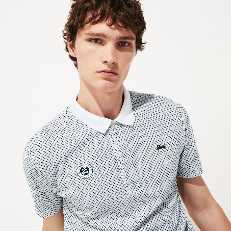 Men's Lacoste SPORT Roland Garros Print Cotton Polo Shirt