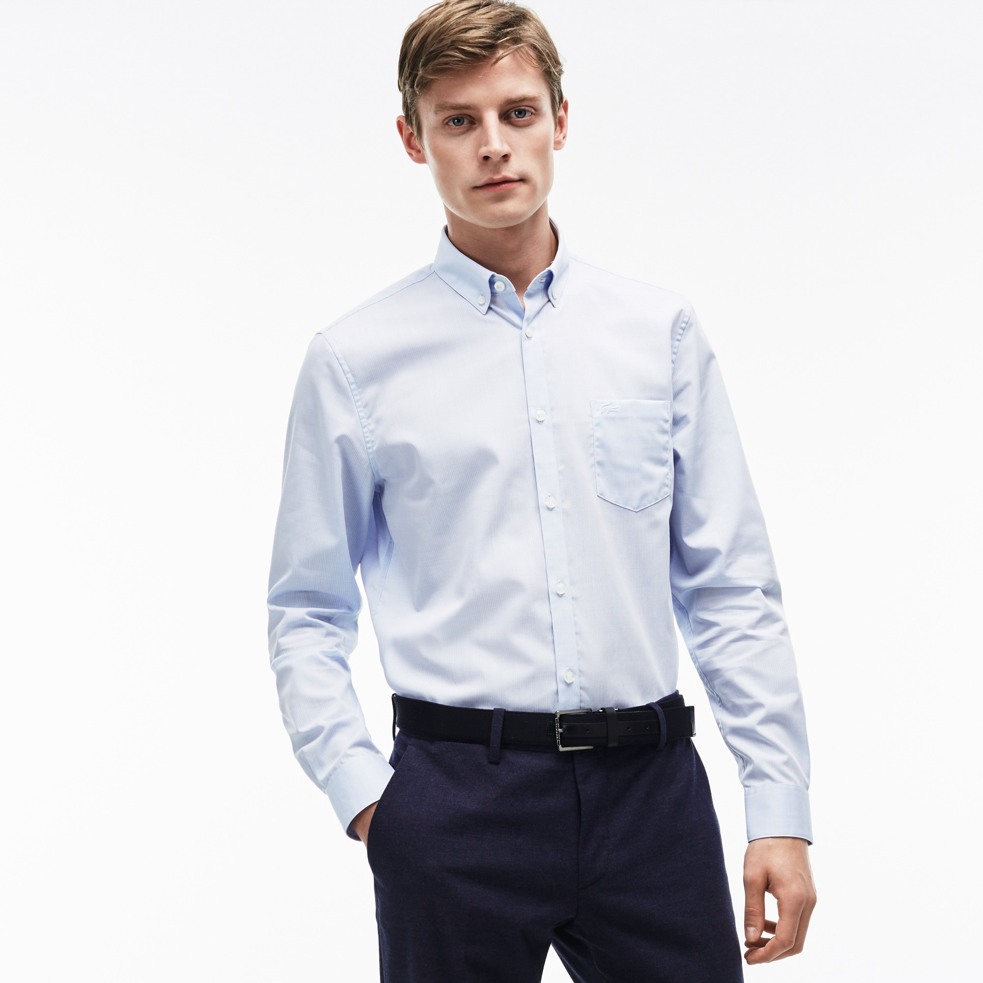 Men's Regular Fit Texturized Poplin Shirt