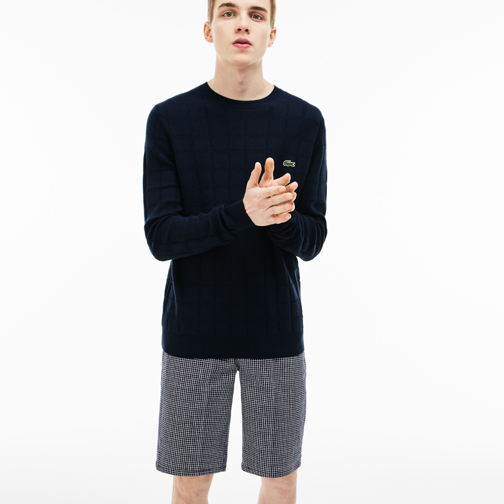 Men's Lacoste LIVE Crew Neck Mini Check Jacquard Sweater