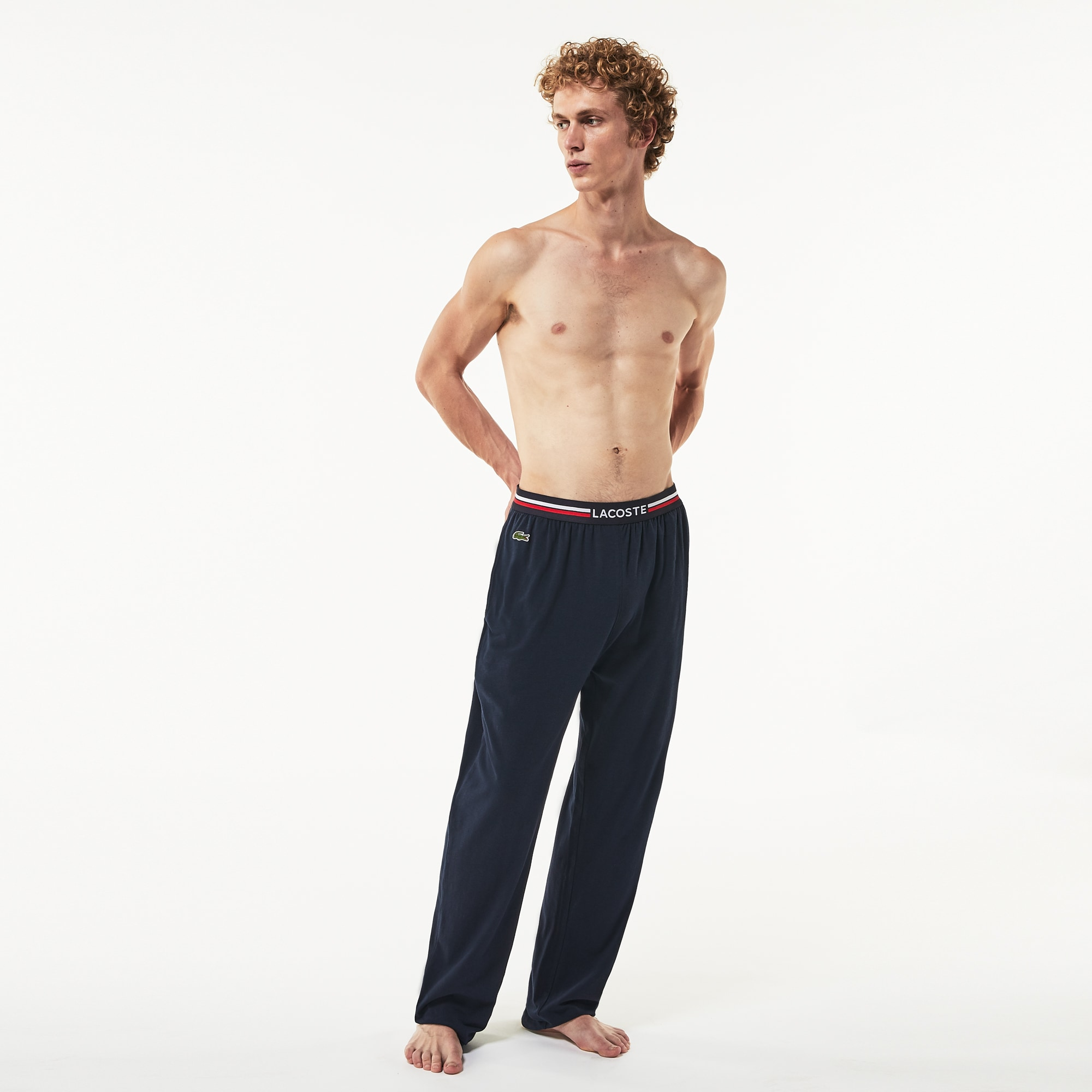 Plush lounge trousers with three-tone waistband