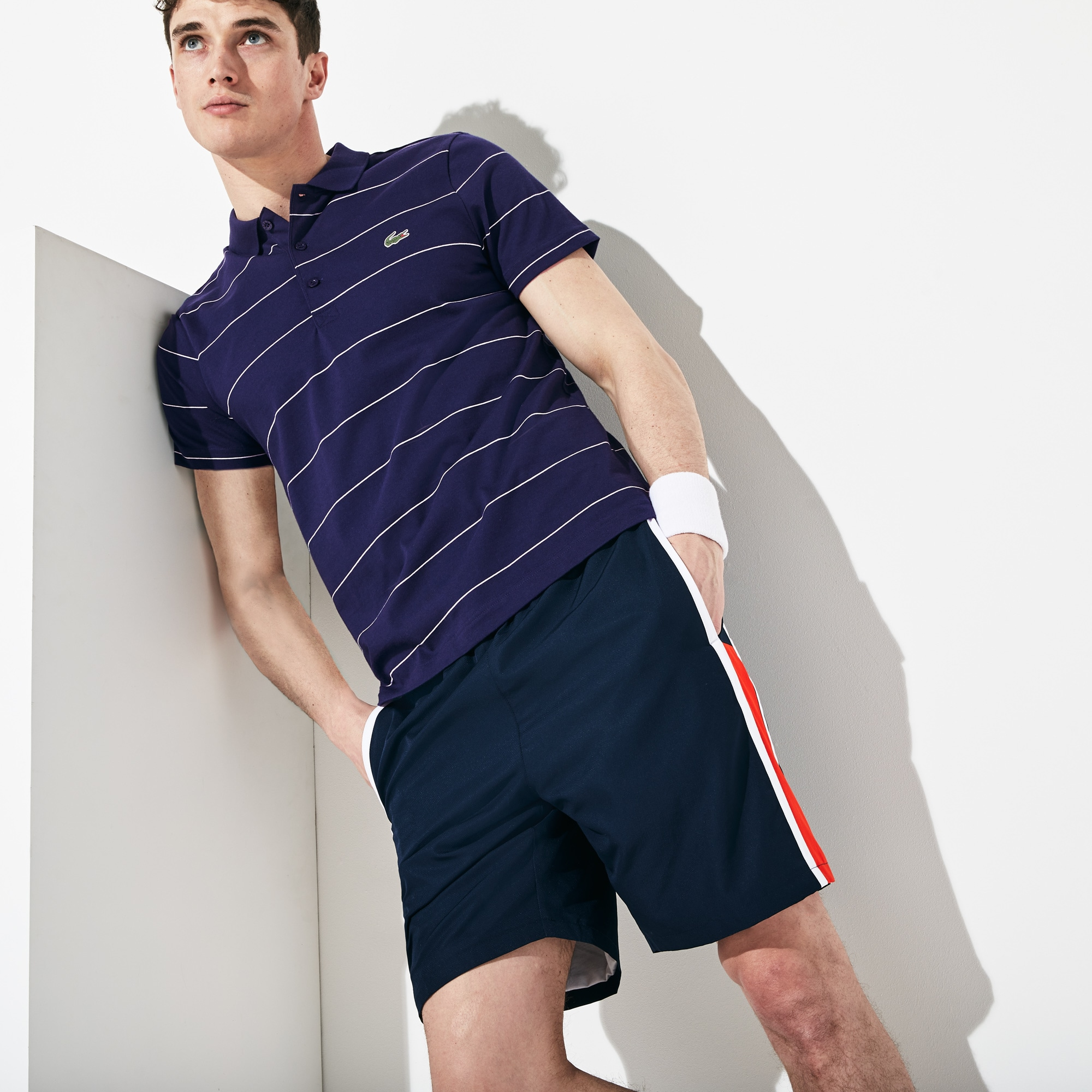 b679b9a9e34 Men's Lacoste SPORT Striped Technical Cotton Tennis Polo Shirt | LACOSTE