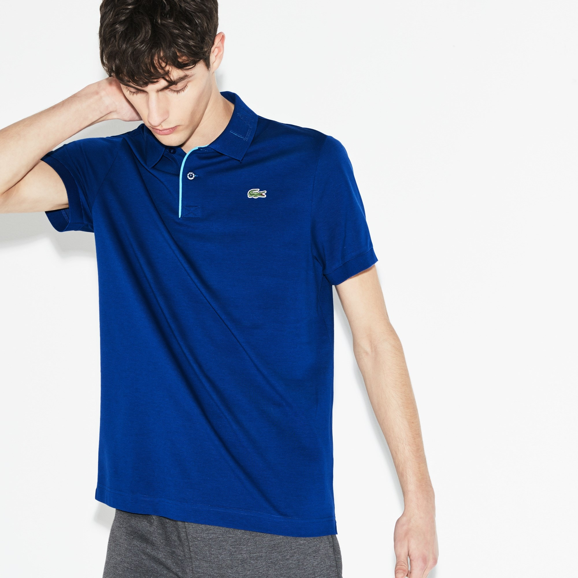 Men's Lacoste SPORT Print Collar Ultra-Light Cotton Tennis Polo Shirt