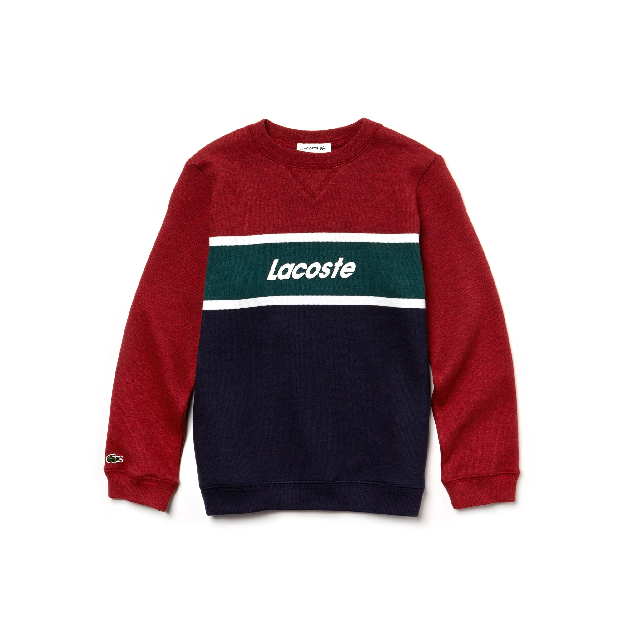 Boys' Crew Neck Lacoste Lettering Colorblock Jersey Sweater