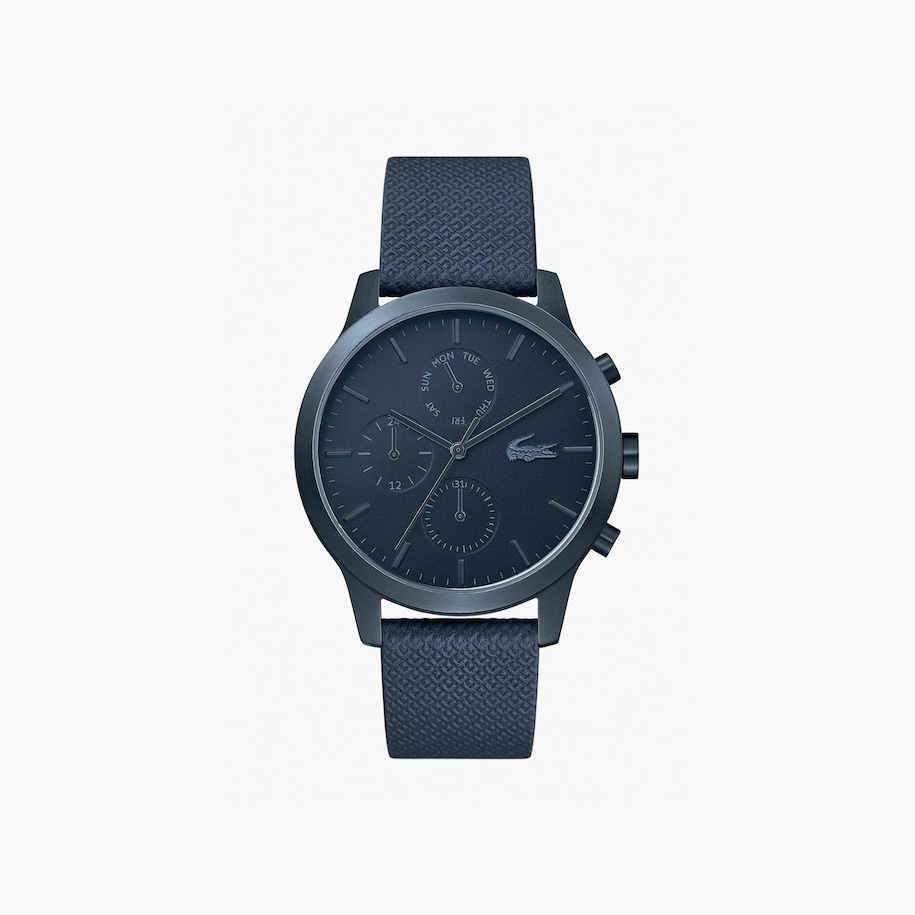 Gents Lacoste.12.12 Watch With Blue Leather Petit Piqué Strap