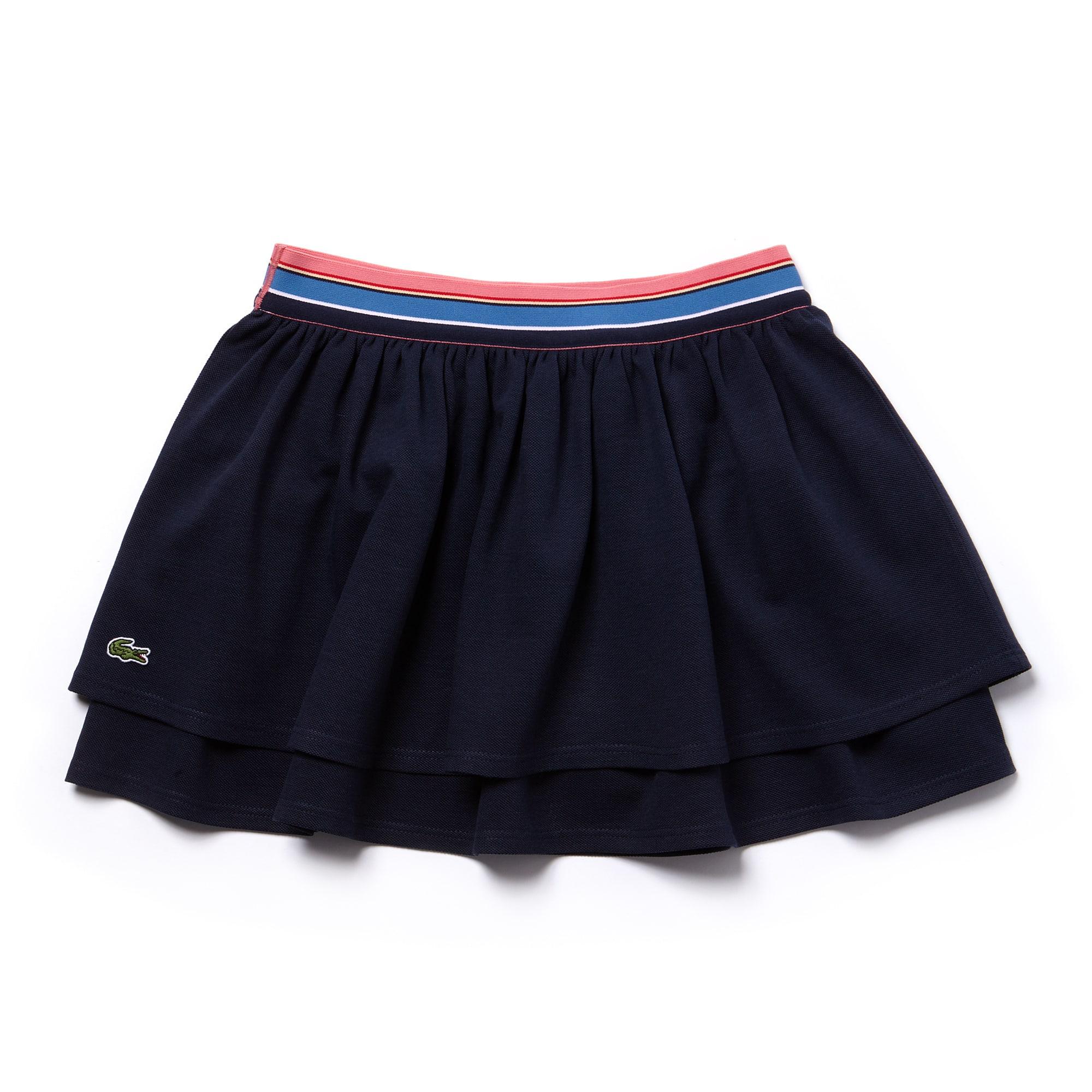 Girls' Striped Belt Double Flounce Petit Piqué Skirt