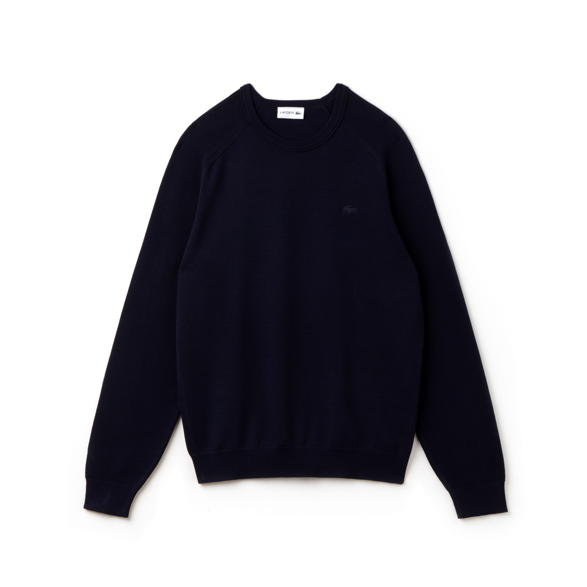 Men's Crew Neck Contrast Sleeves Technical Knit Sweater