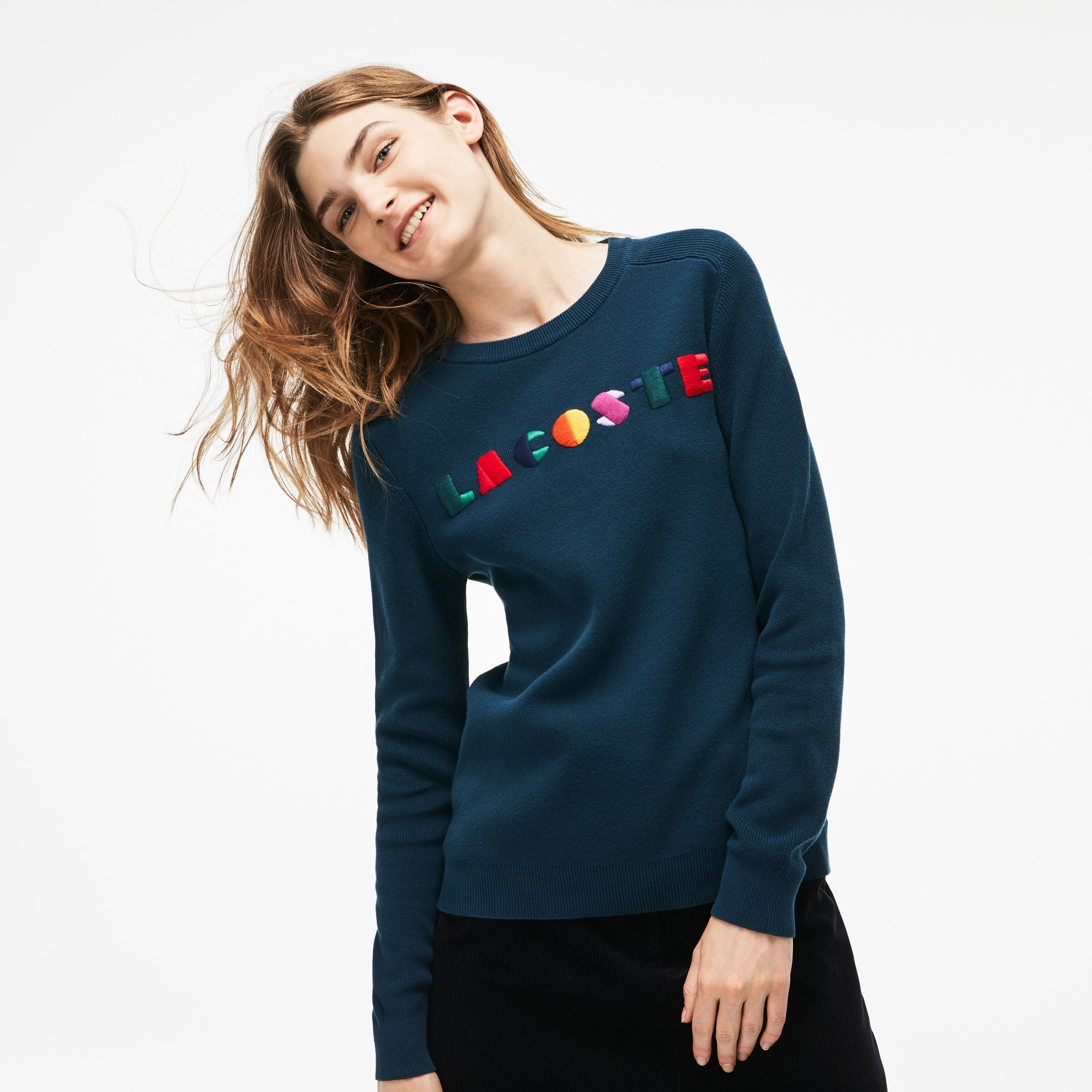 Women's Crew Neck Lacoste Multicolor Embroidery Interlock Sweater