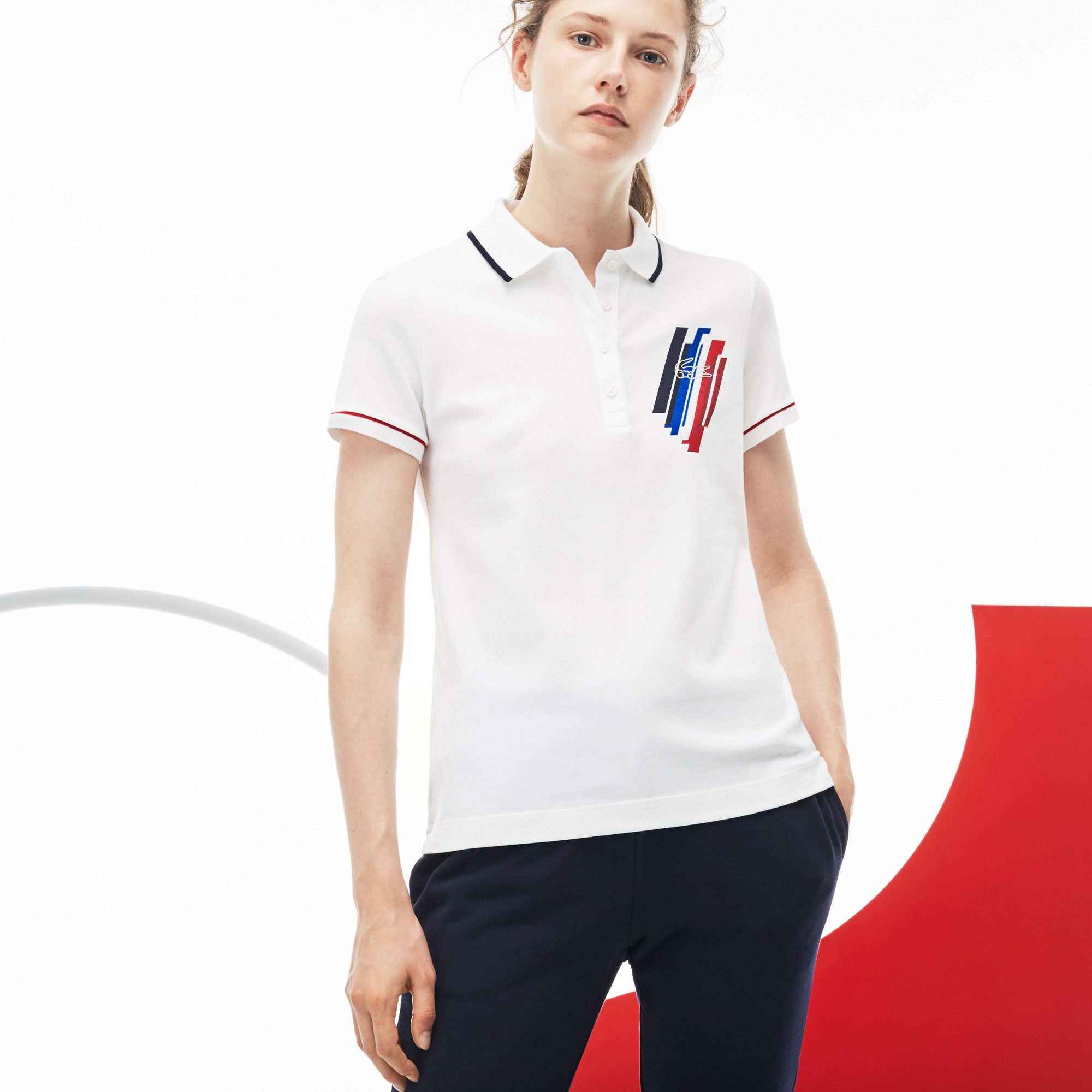 Women's Lacoste SPORT COLLECTION TRICOLORE Edition Stretch Mini Piqué Polo