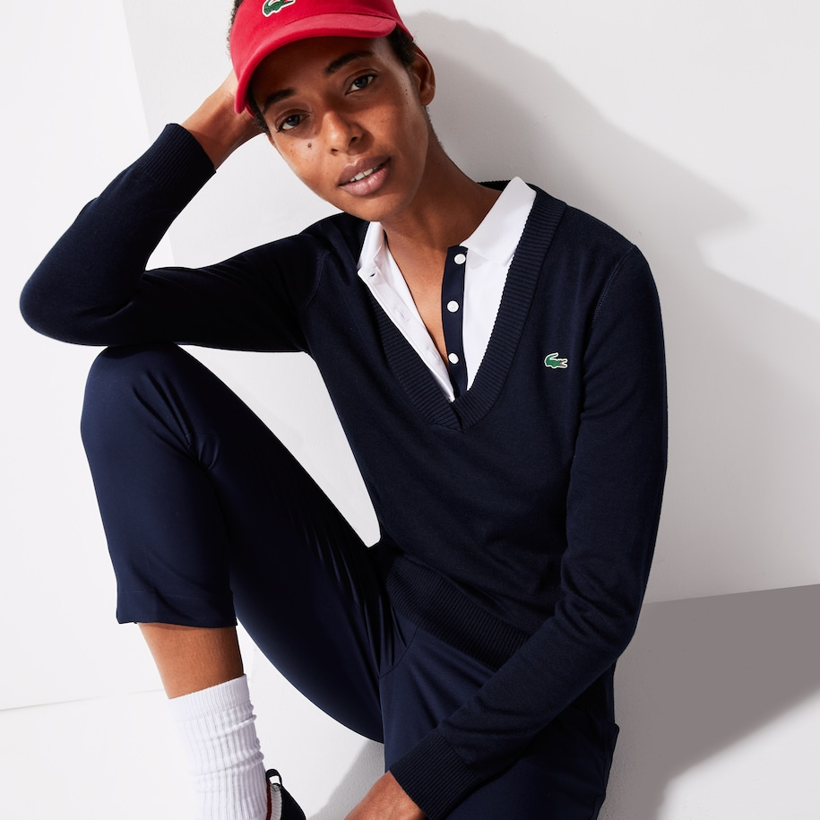 Women's Lacoste SPORT Breathable V-Neck Cotton Golf Sweater