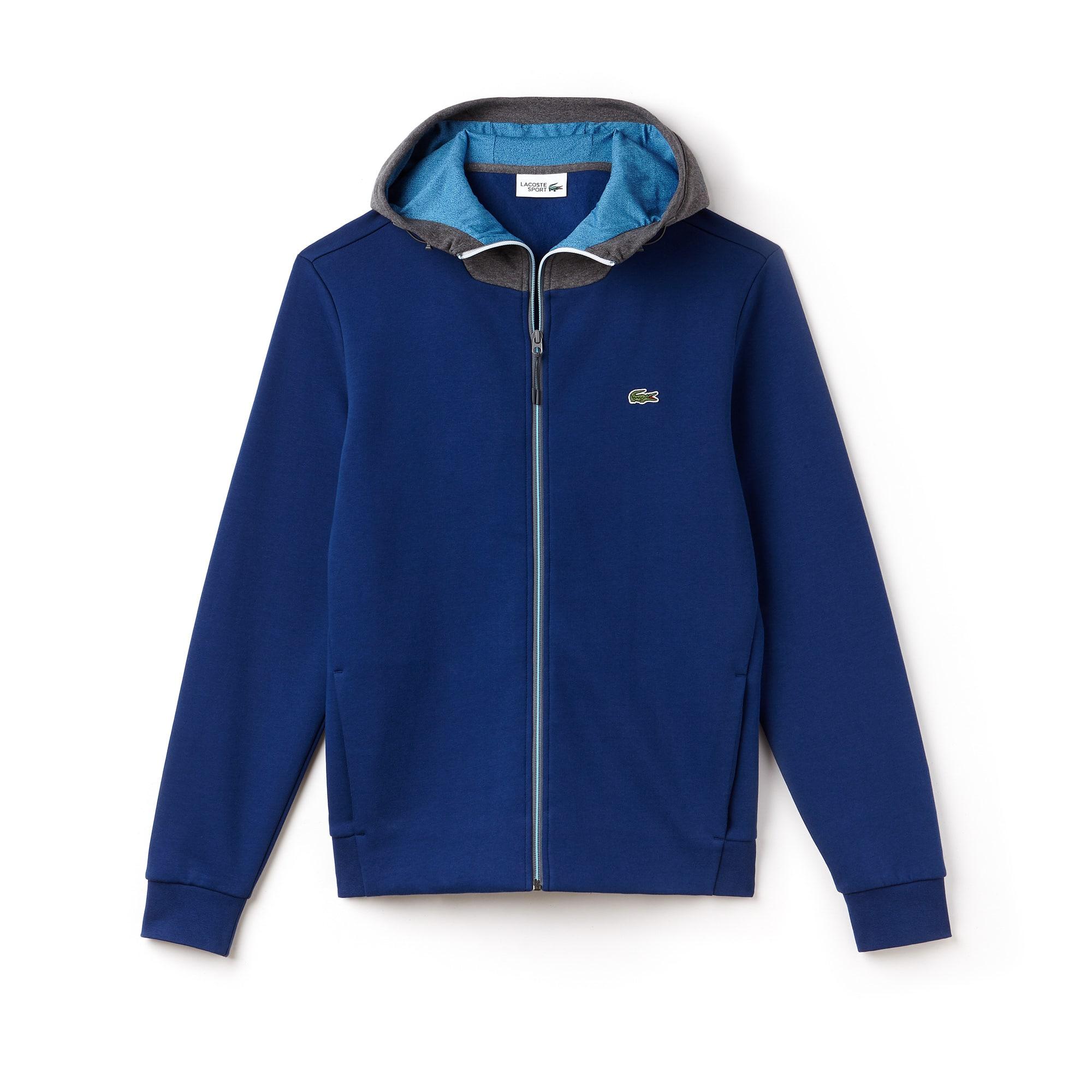 Men's Lacoste SPORT Hooded Bicolour Fleece Zip Tennis Sweatshirt
