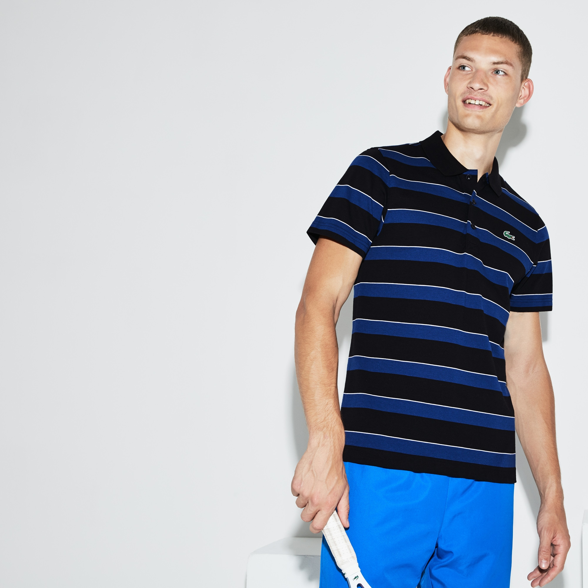 Men's Lacoste SPORT Striped Ultra-Light Cotton Tennis Polo