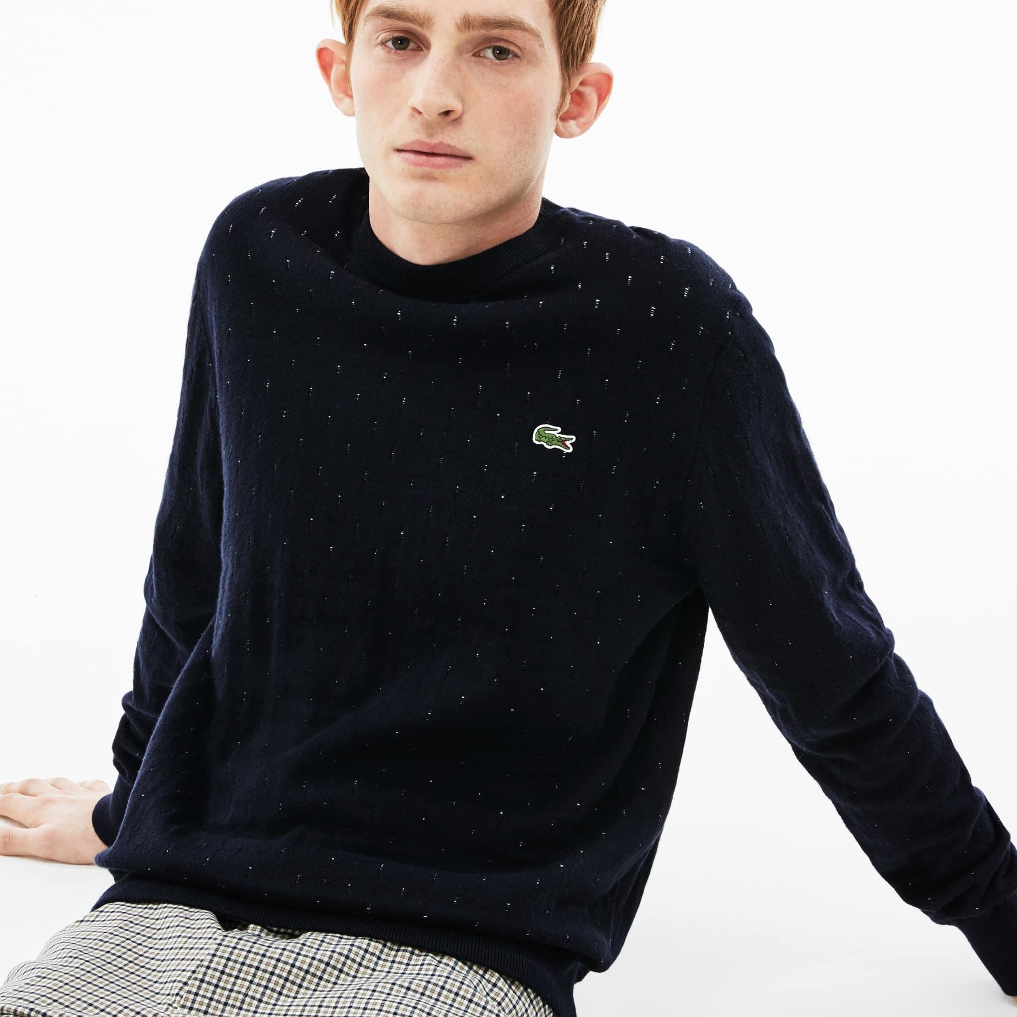 Men's Lacoste LIVE Crew Neck Cotton And Cashmere Jacquard Sweater