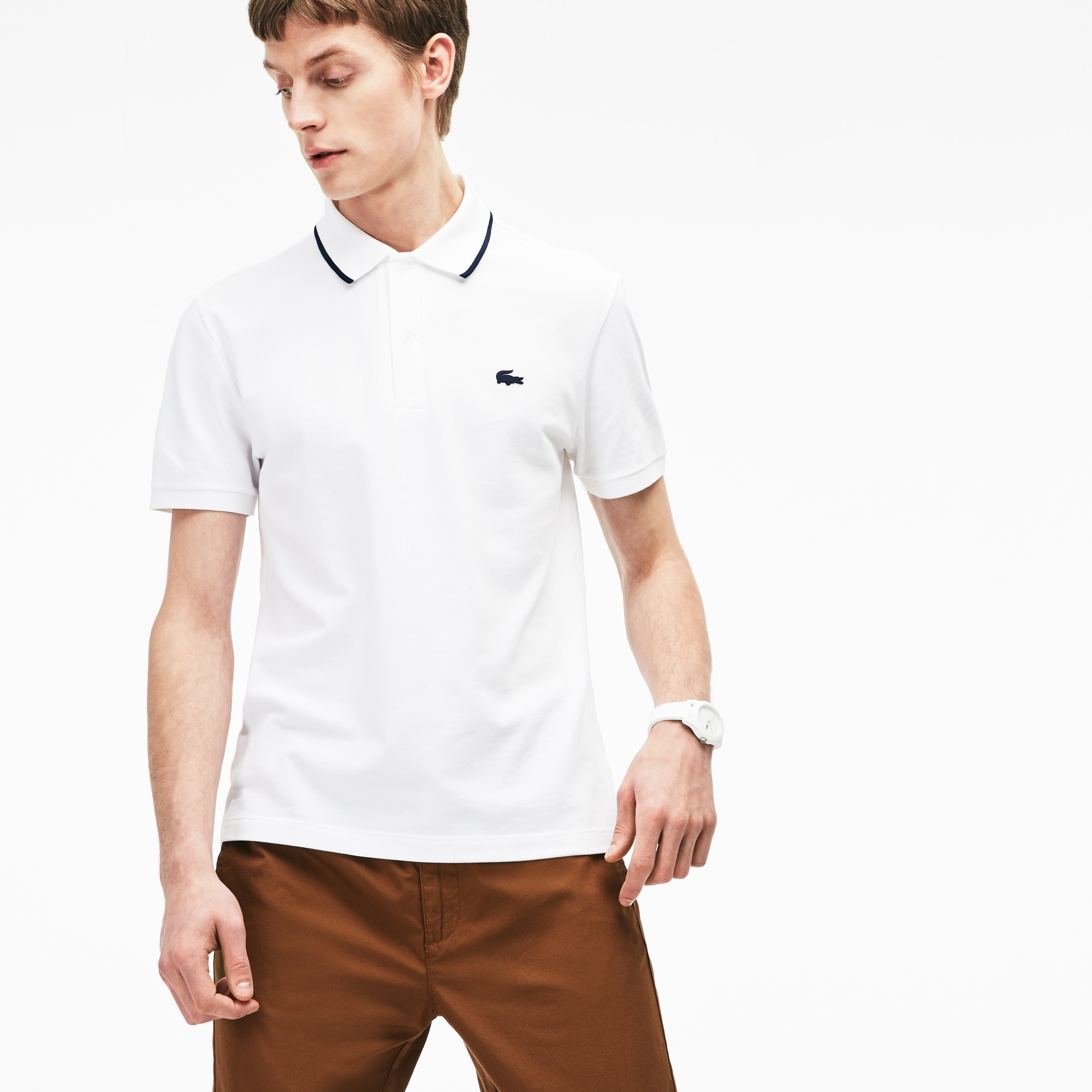 Men's Lacoste Slim Fit Piped Neck Stretch Pima Cotton Polo Shirt