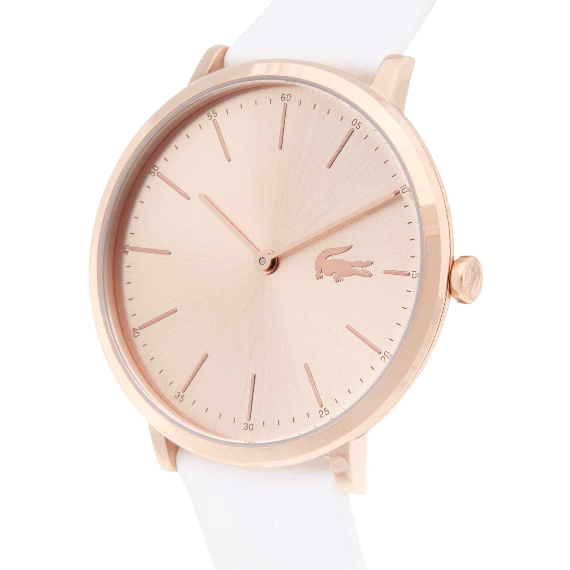 Women's Moon Ultra Slim Watch with White Leather Strap