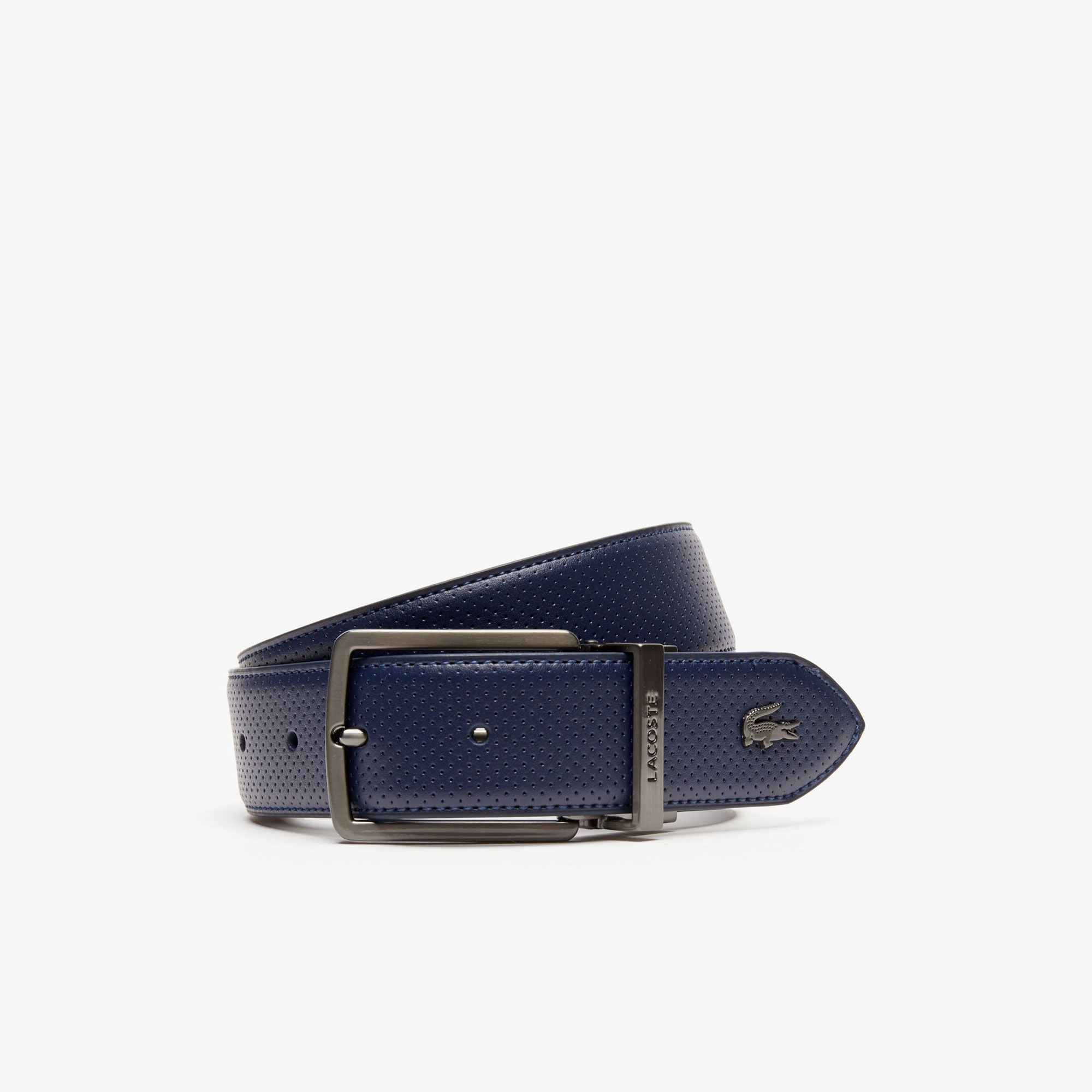 Men's Lacoste Engraved Buckle Reversible Piqué Leather Belt
